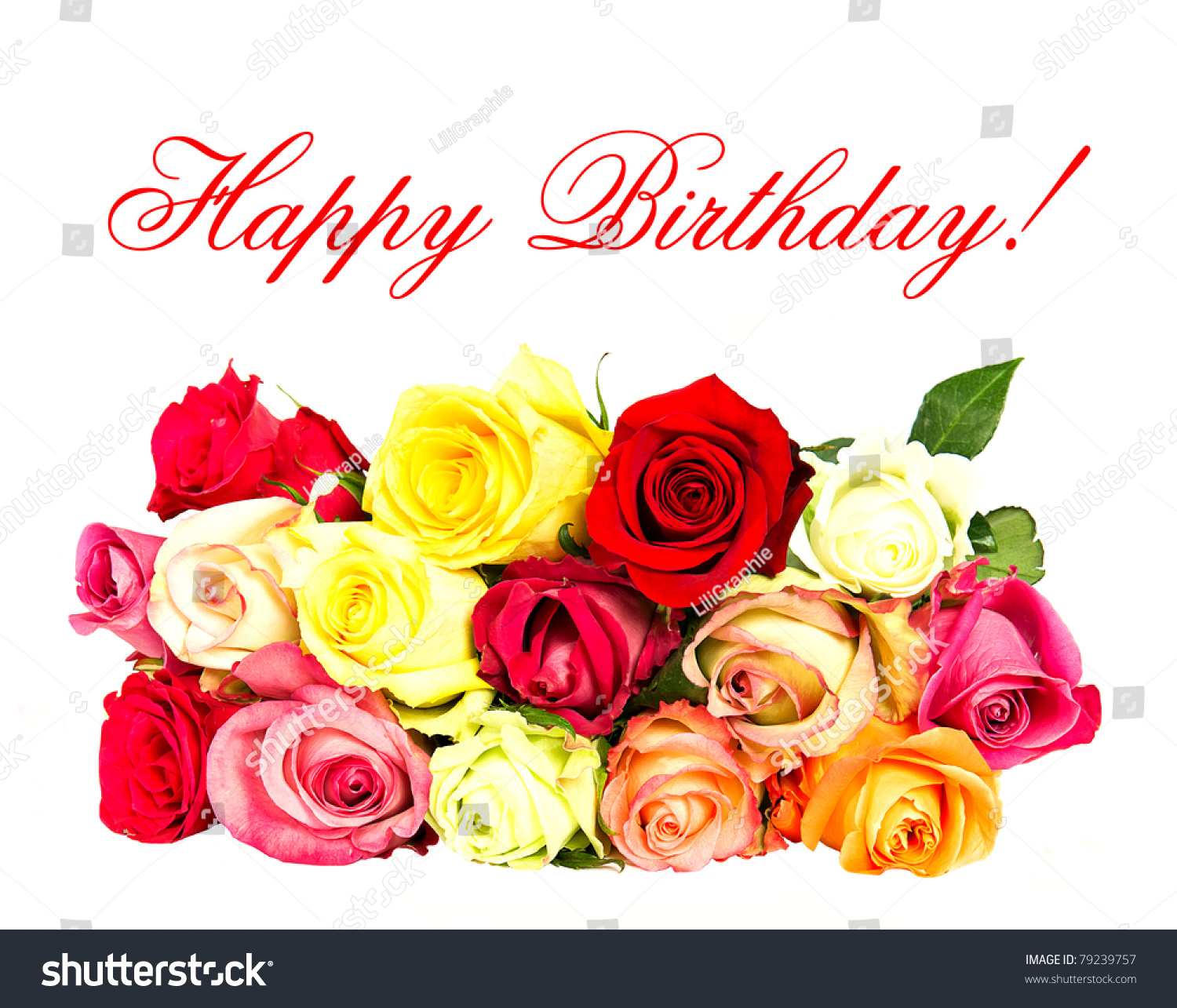 Colorful Roses Happy Birthday Card Concept Stock Photo Edit Now