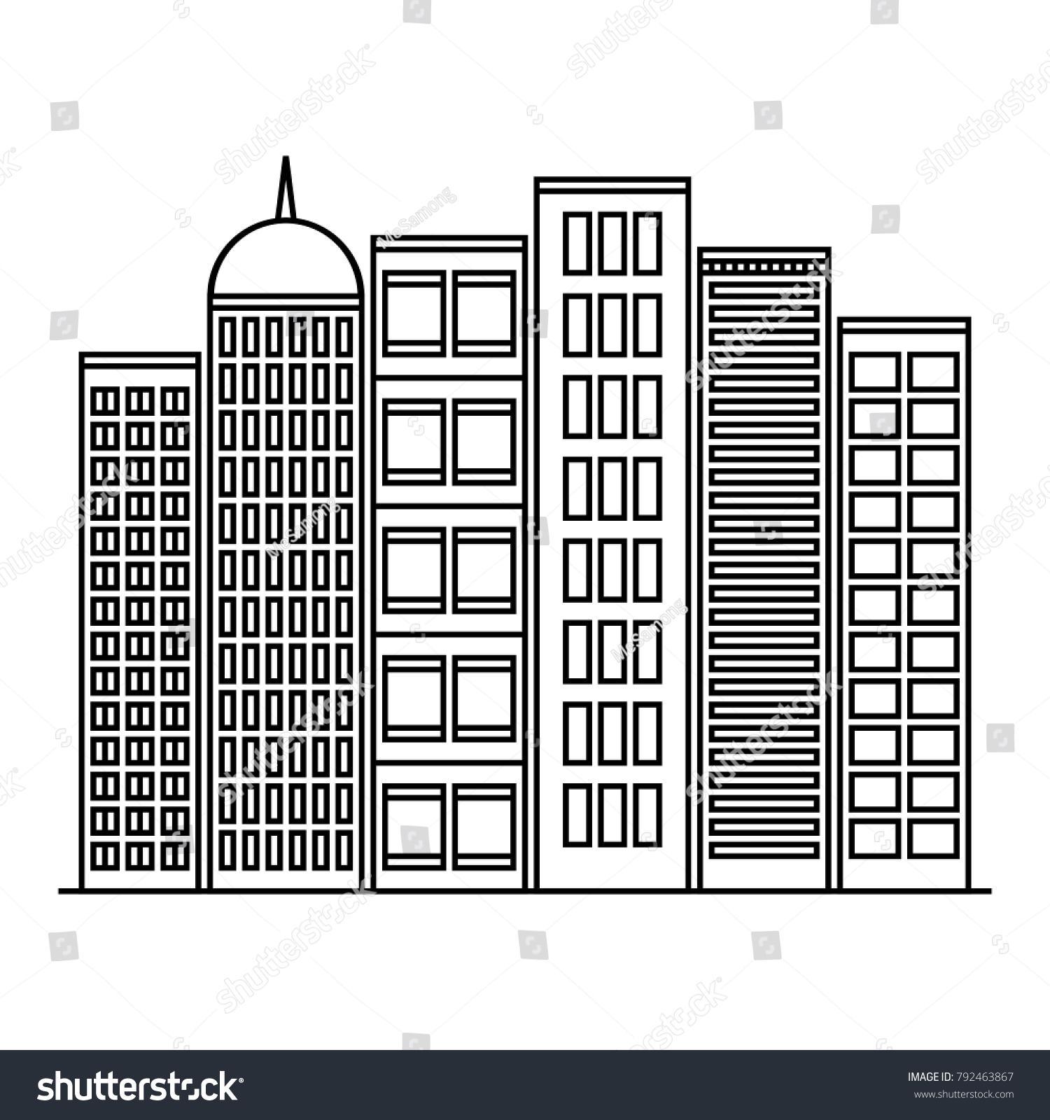 Buildings In Easy Drawing Outline