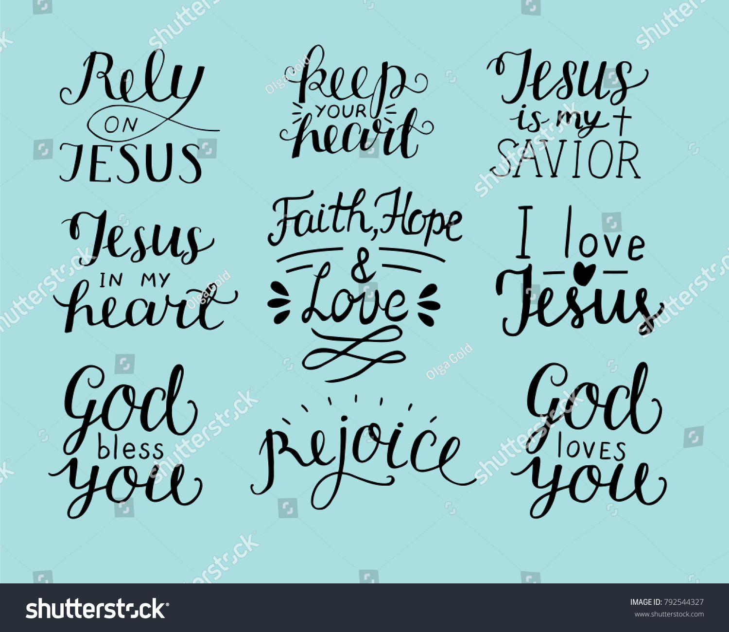 Christian Quotes About Love Set 9 Hand Lettering Christian Quotes Stock Vector 792544327
