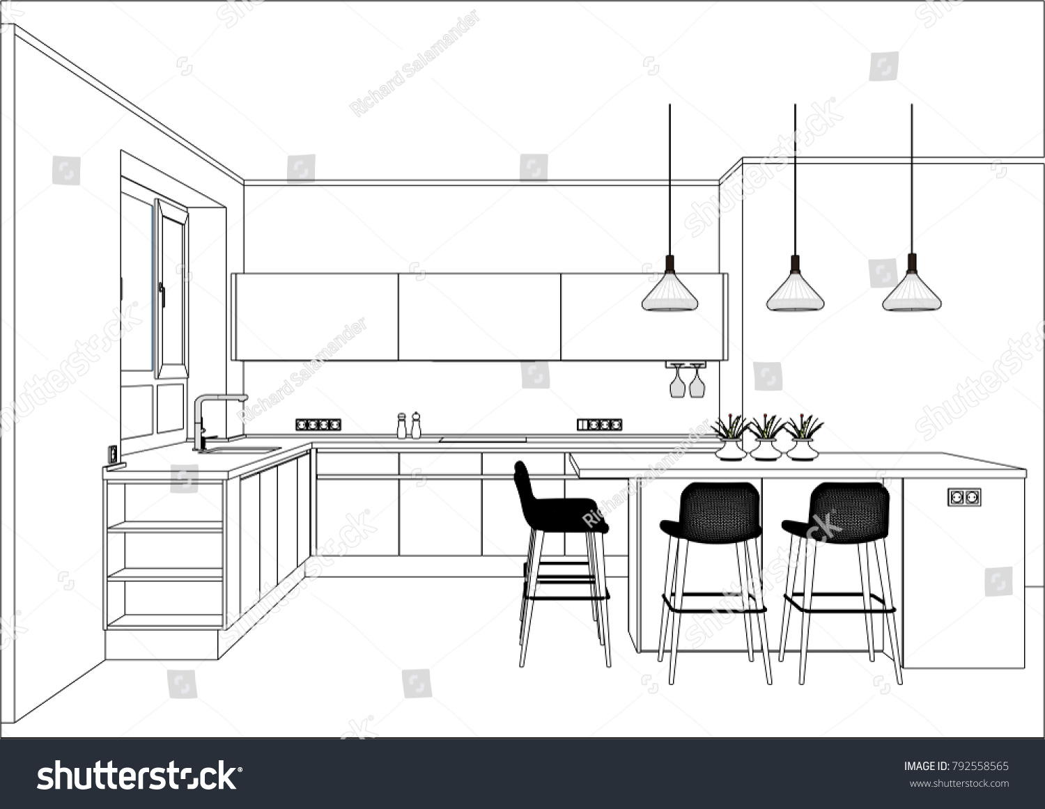 3d Vector Sketch Modern Kitchen Design Stock Vector Royalty Free 792558565