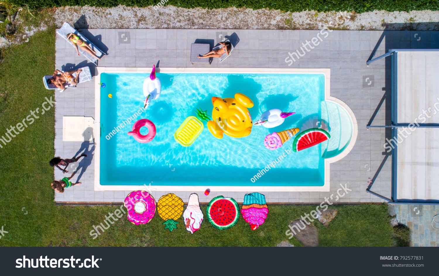 Happy People Partying In An Exclusive Swimming Pool With Animal And Fruit Shapes Mats View