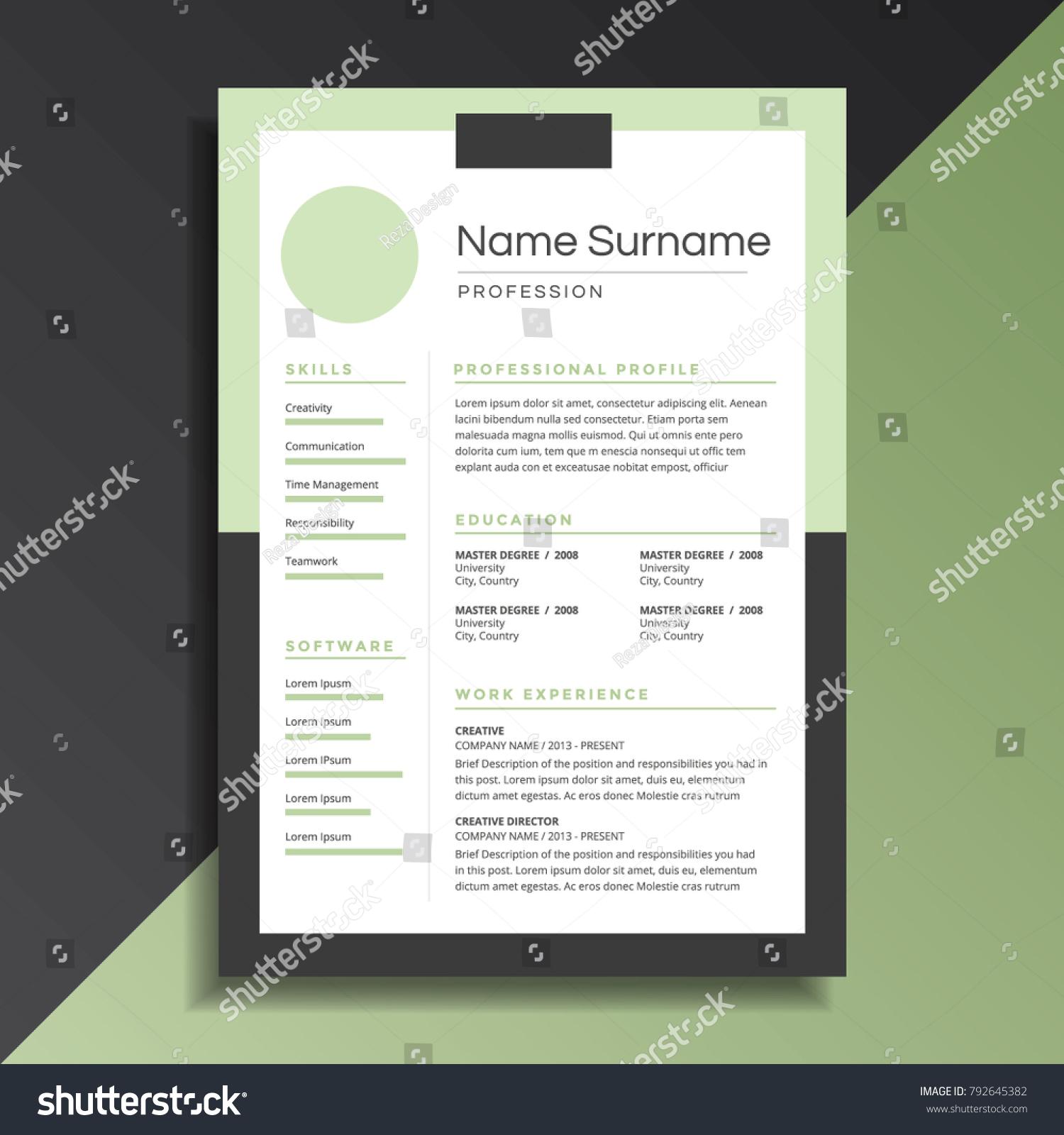 Unique Professional Resume Cv Design Stock Vector 792645382