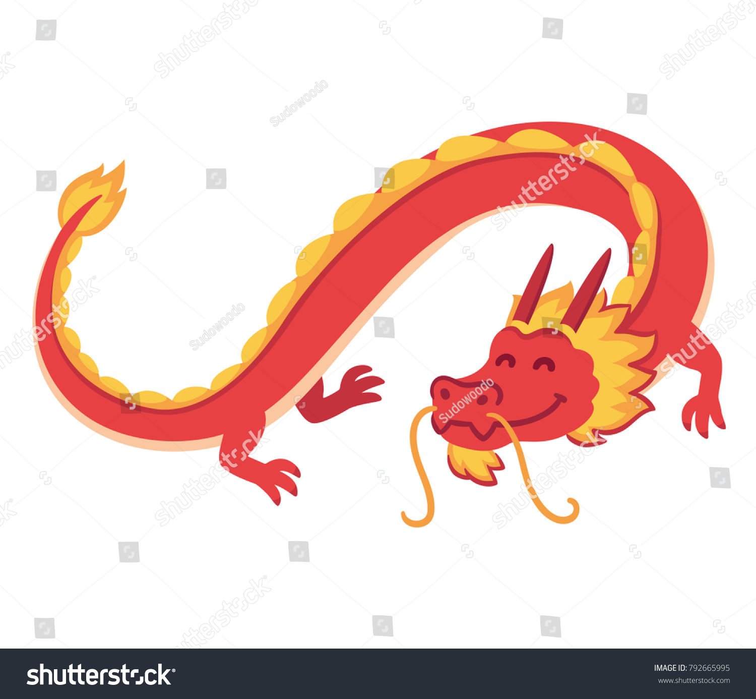 Chinese Red Dragon Flying Cute Cartoon Stock Illustration 792665995