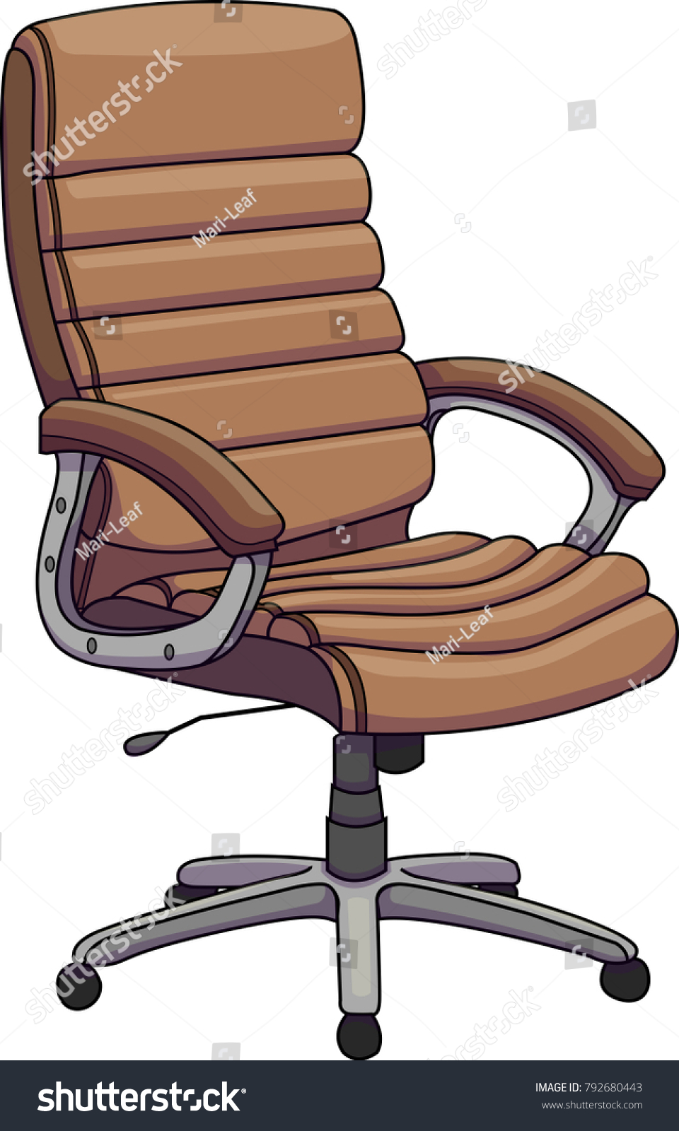 brown leather office chairs. Vector Illustration Of A Brown Leather Office Chair, Swivel Revolving Chair. Chairs