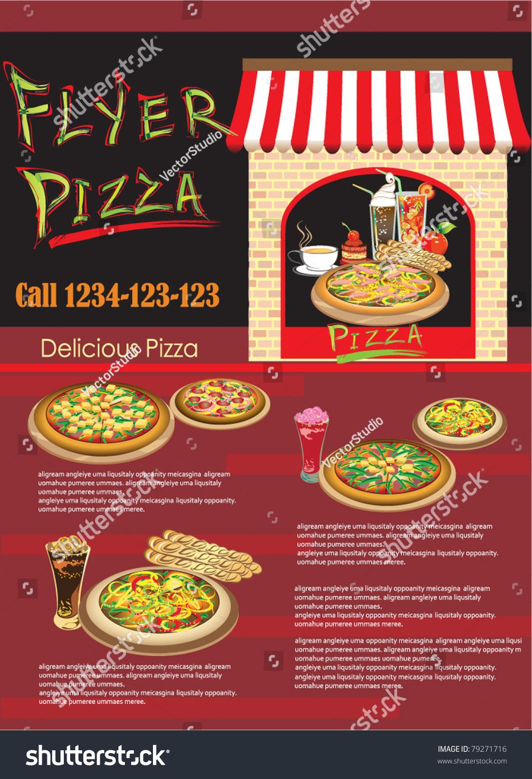 Vector flyer pizza template website stock