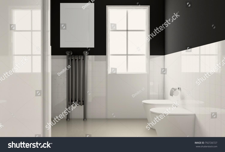 Empty Paintings Spacious Bathroom Gray Tones Stock Illustration ...
