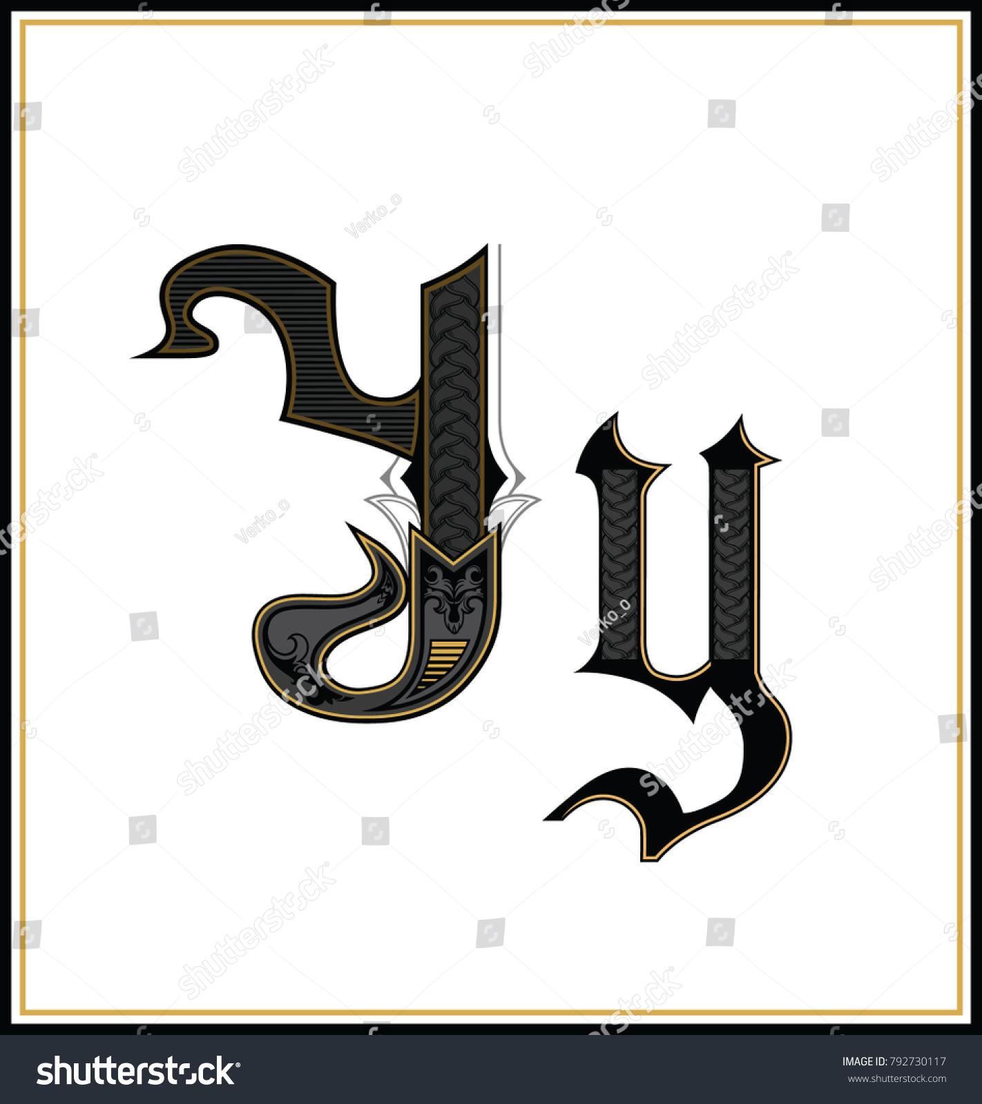 Gothic Font Letter Vintage Design Text Symbol Antique Calligraphy Old Lettering Retro Style