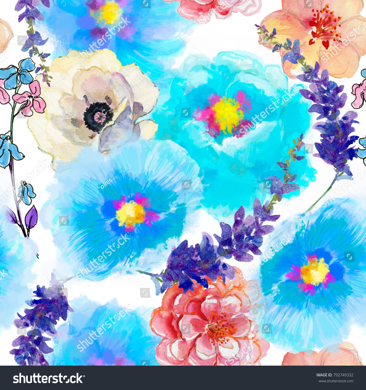 Seamless Wallpaper Beautiful Summer Flowers Watercolor Stock