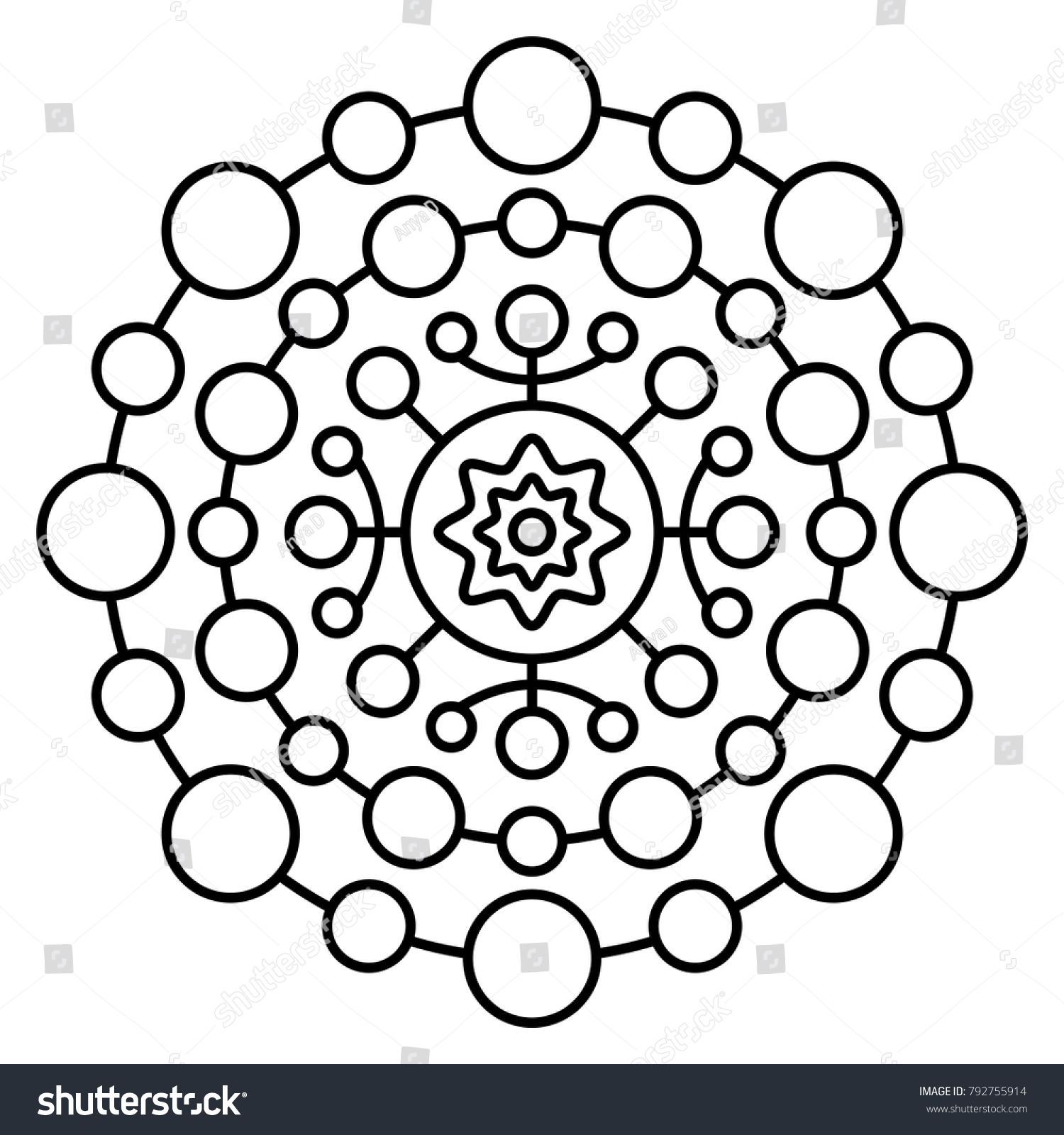 Simple Floral Mandala Print Easy Coloring Stock Vector 792755914 ...