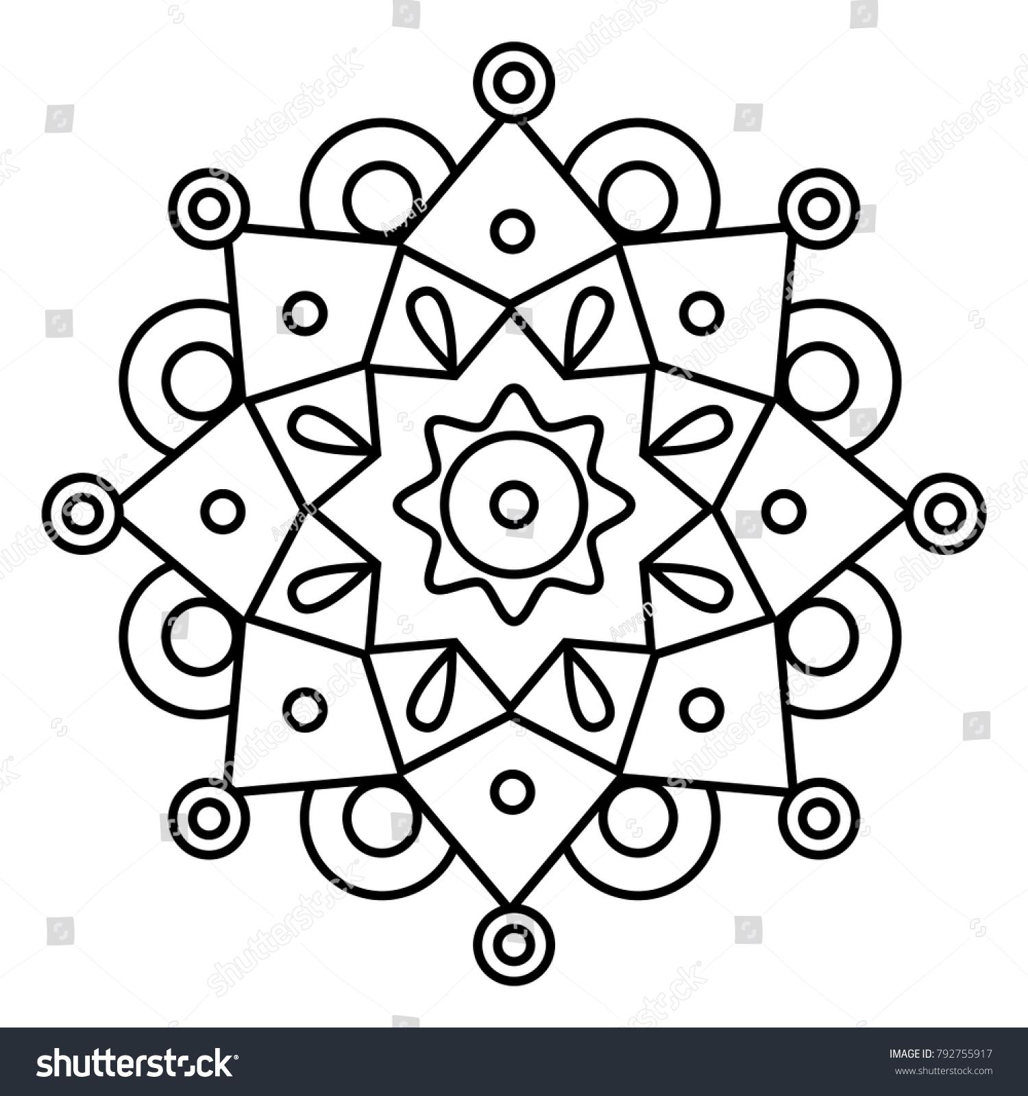 Simple Floral Mandala Print Easy Coloring Stock Vector (Royalty Free ...