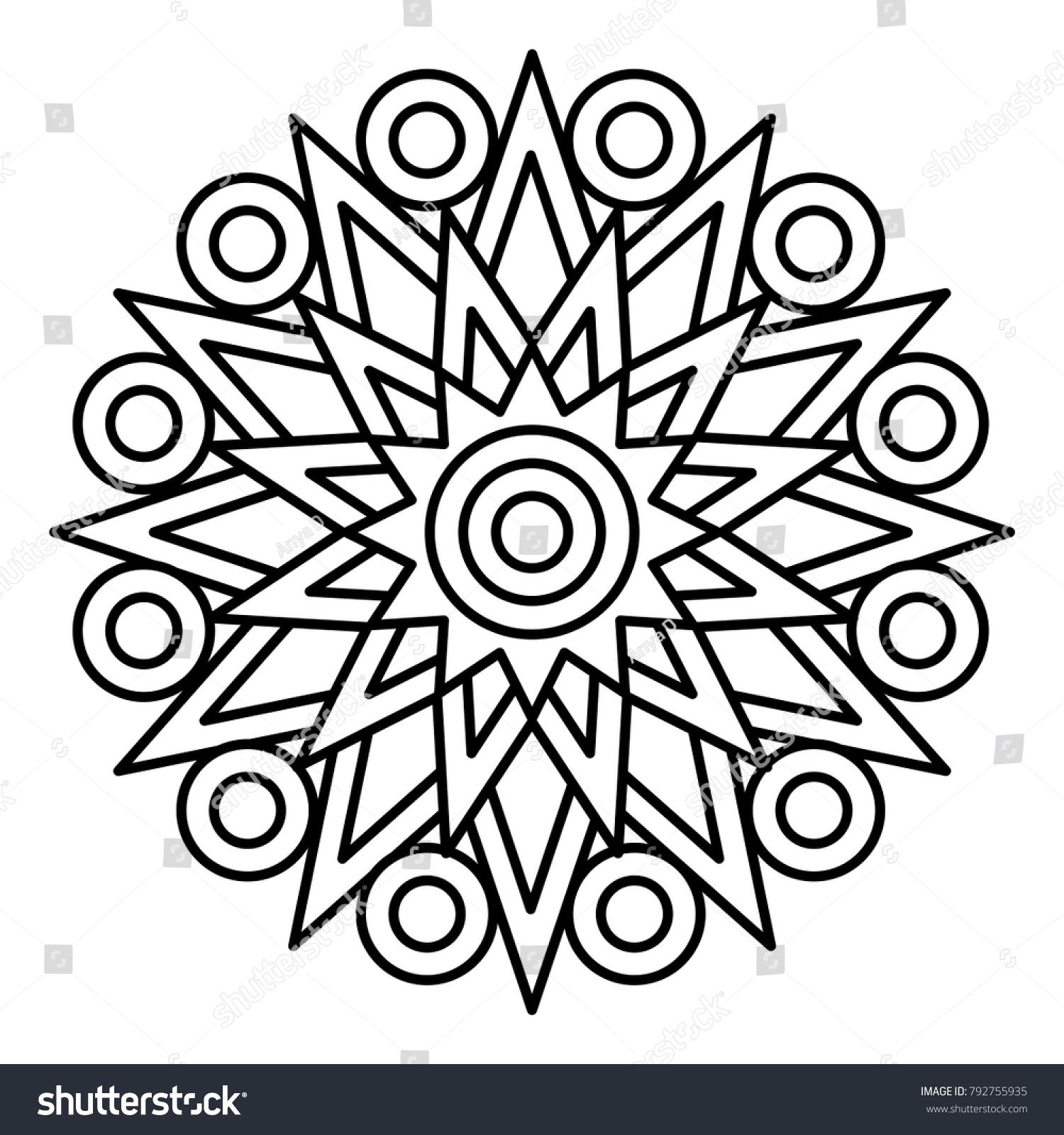 Simple Floral Mandala Print Easy Coloring Stock Vector 792755935 ...