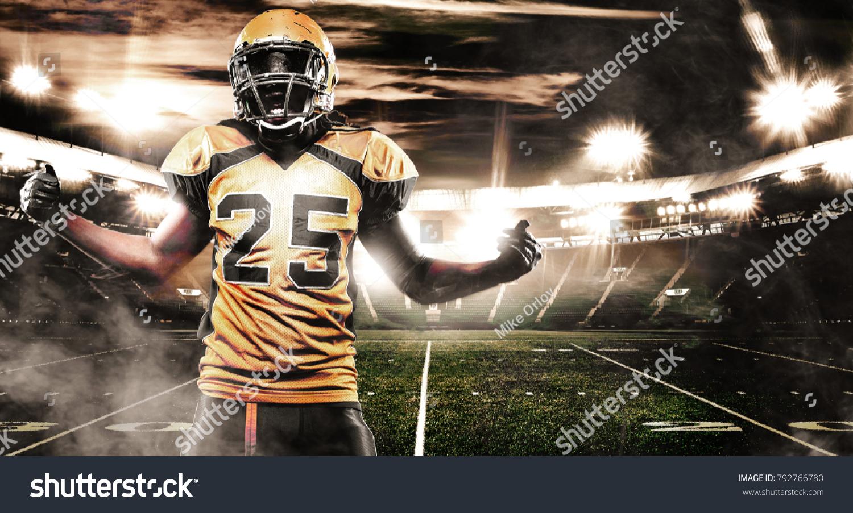 american football sportsman player on stadium stock photo (edit now