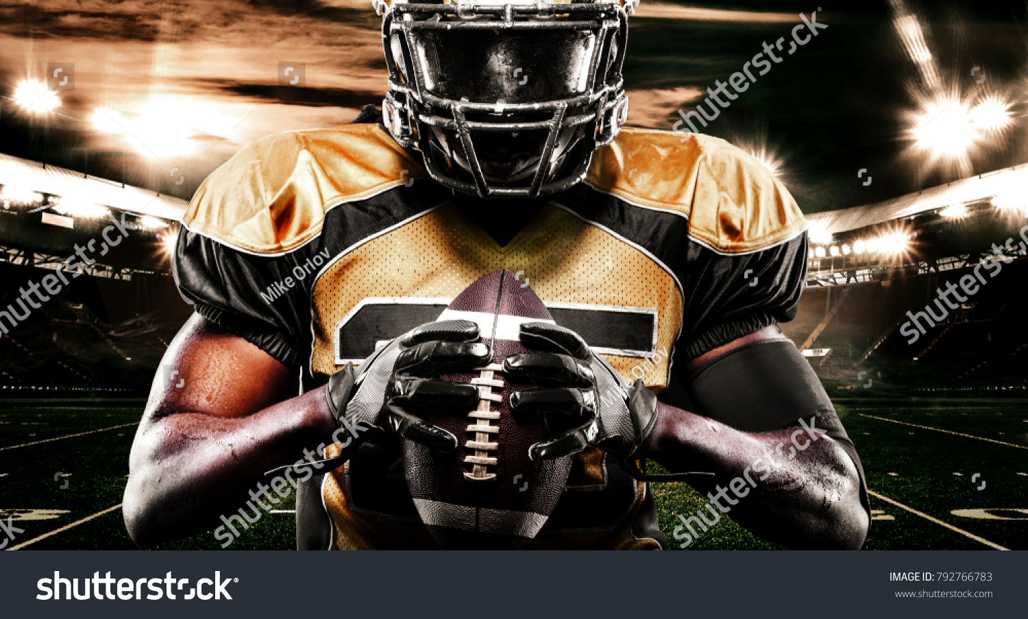 american football sportsman player on stadium stock photo (download