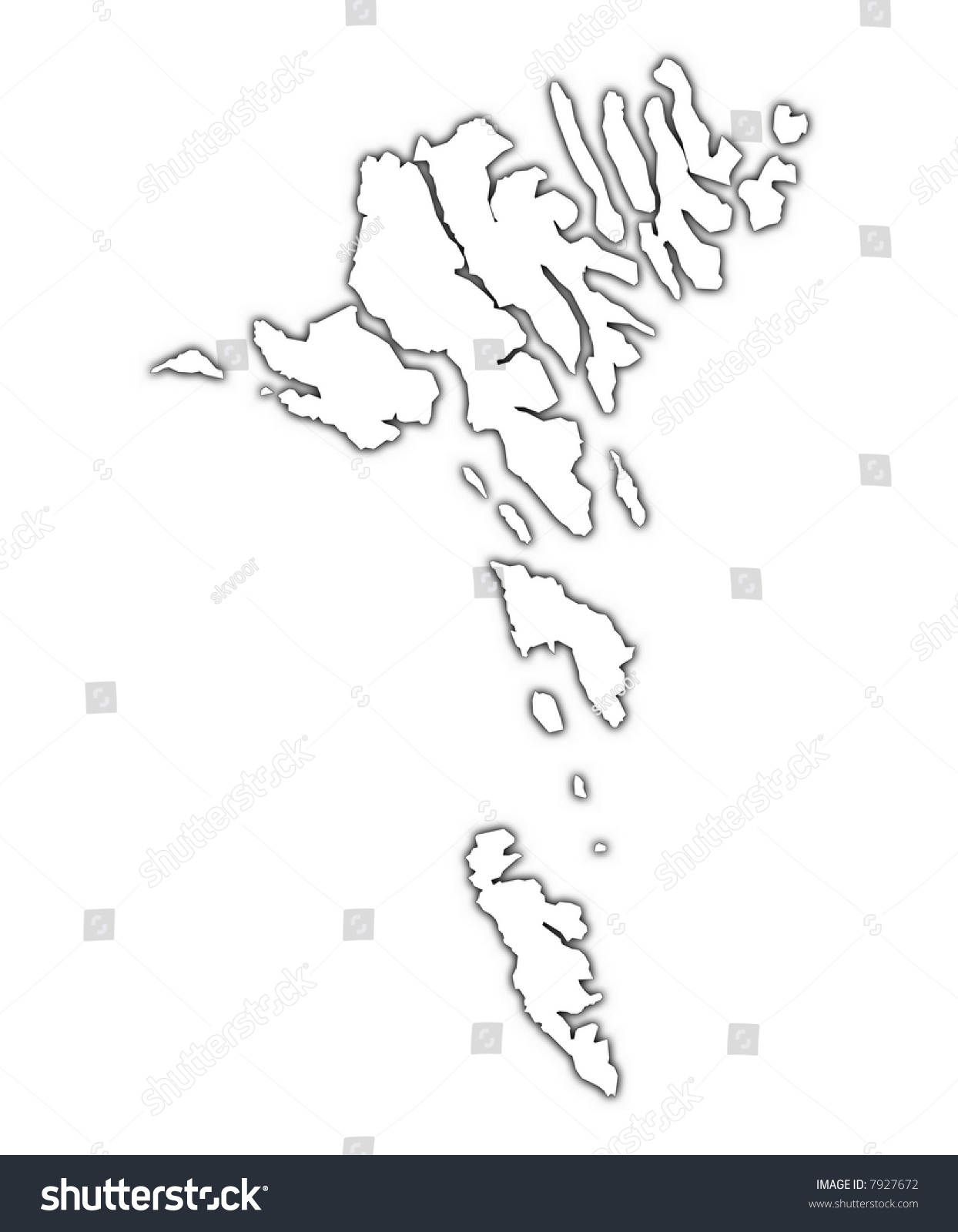 faroe islands outline map shadow detailed stock illustration  - faroe islands outline map with shadow detailed mercator projection