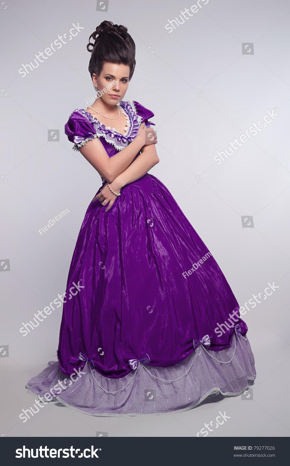 Old Fashioned Girl In Cyan Dress Stock Photo 79277026 : Shutterstock