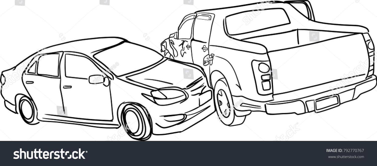 Vector Art Drawing Car Crash Accident Stock Vector 792770767 ...