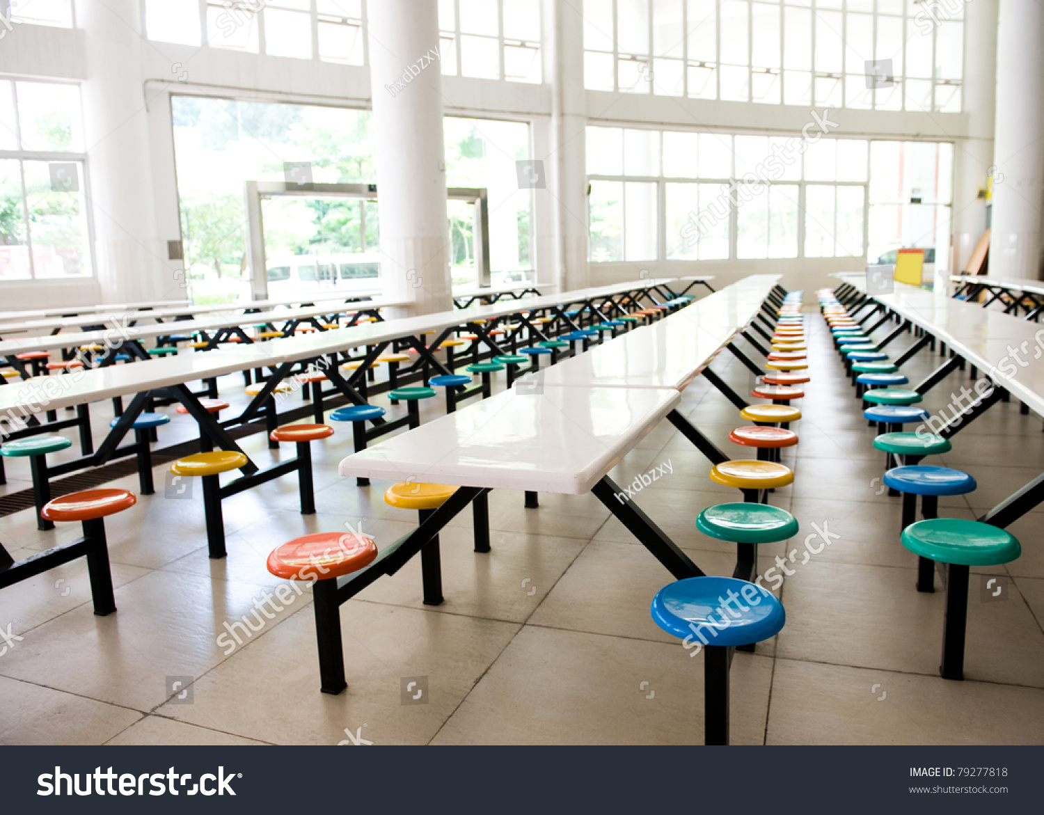 Clean cafeteria tables - Clean School Cafeteria With Many Empty Seats And Tables