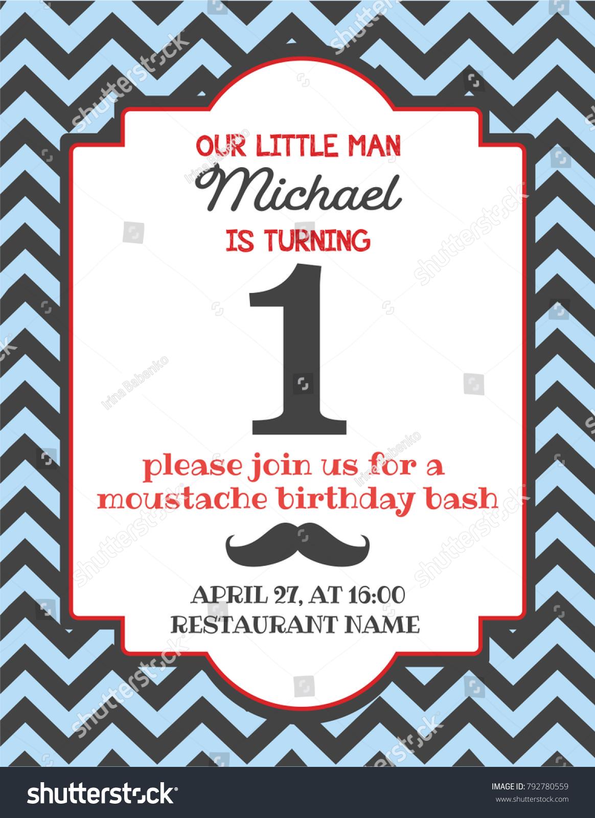 Cute Moustache Birthday Invitations Contemporary - Invitation Card ...