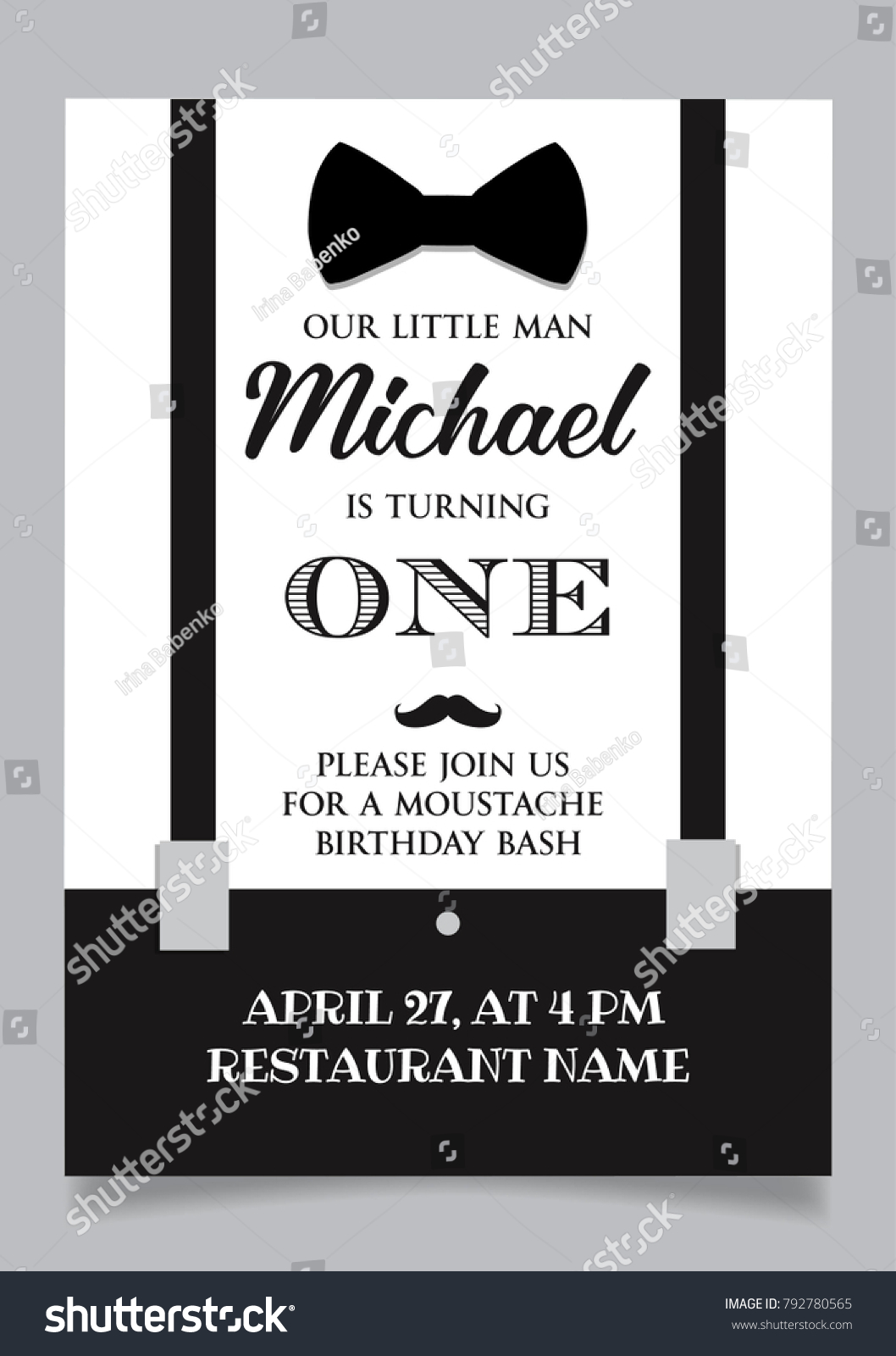 Funny vintage baby birthday mustache bash invitation   EZ Canvas