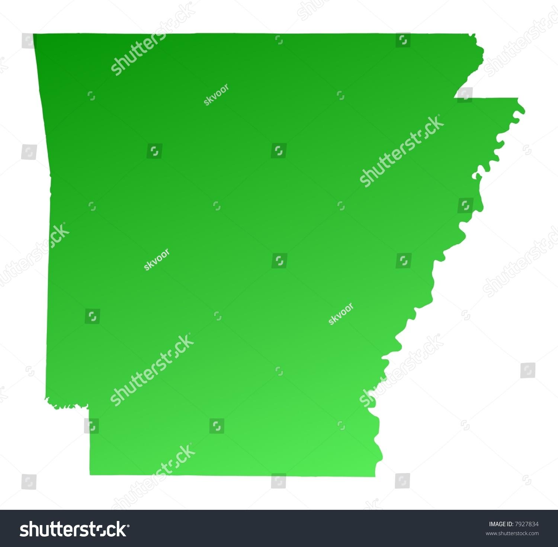 Arkansas On Usa Map.Royalty Free Stock Illustration Of Green Gradient Arkansas Map Usa
