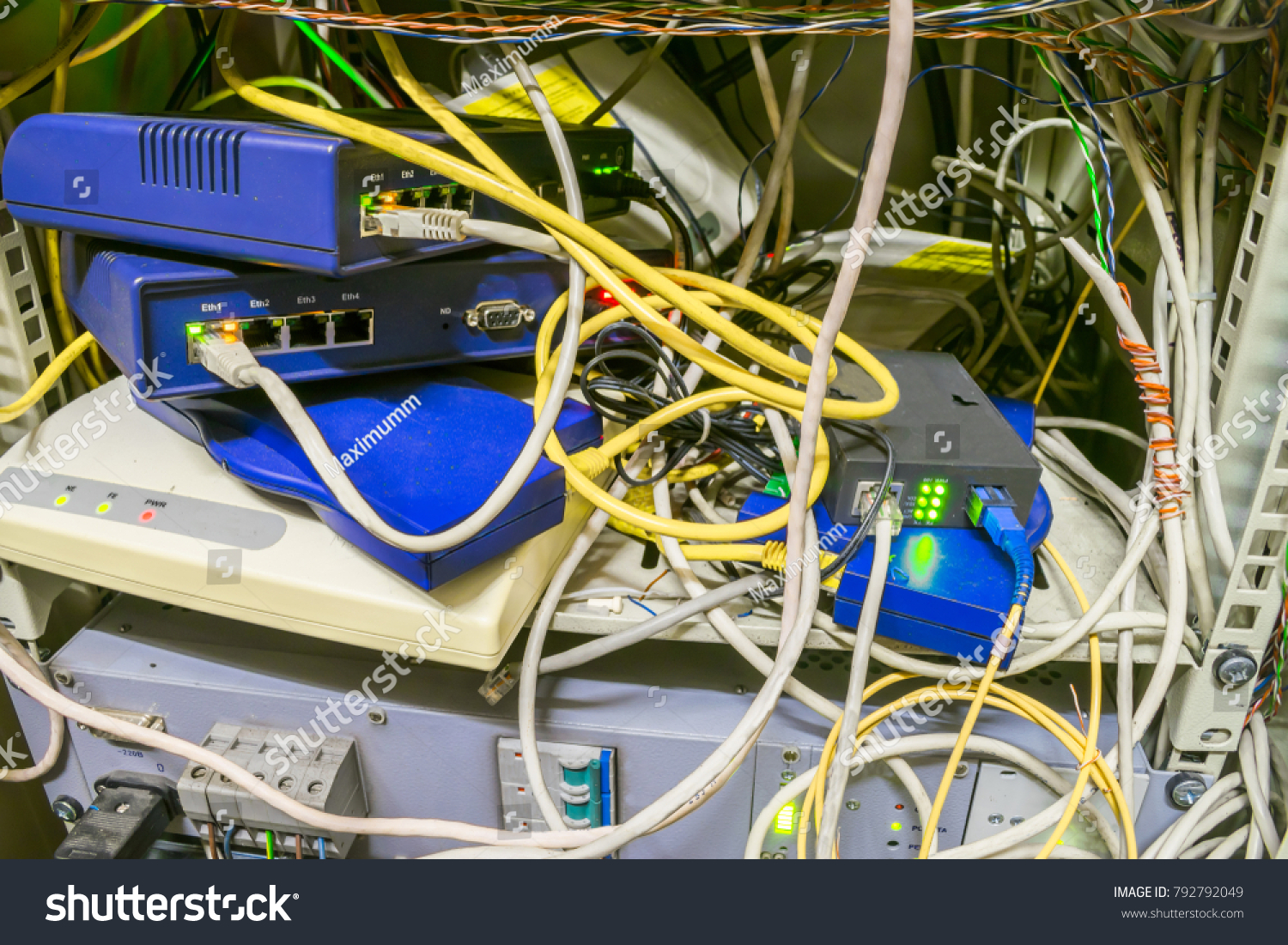 Chaotic Interlacing Wires Between Modems Switches Stock Photo Edit Internet Wiring Box Of And Bridges Rack With Many Network