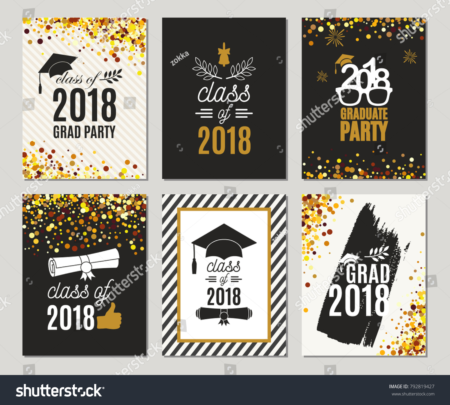 Graduation Class 2018 Greeting Cards Set Stock Vector Royalty Free