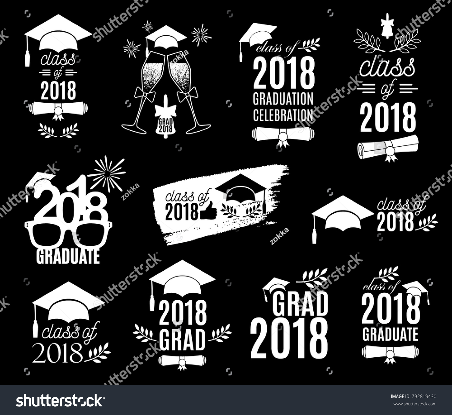 Graduation Class 2018 Labels Design Set Stock-Vektorgrafik ...