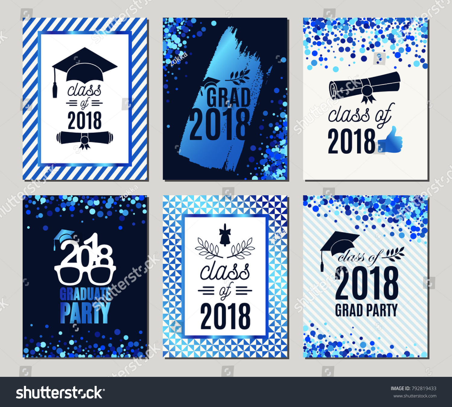 Graduation Class 2018 Blue Glitter Greeting Stock-Vektorgrafik ...