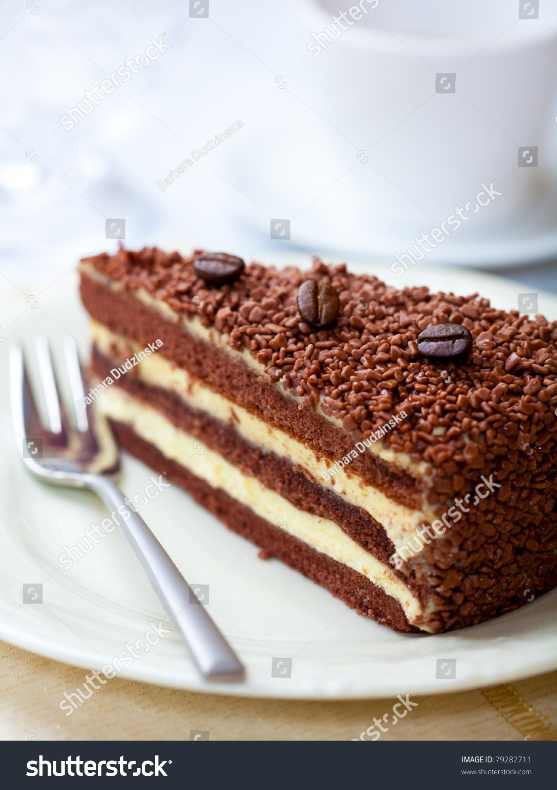 Chocolate Cake With Coffee Beans Stock Photo 79282711 ...