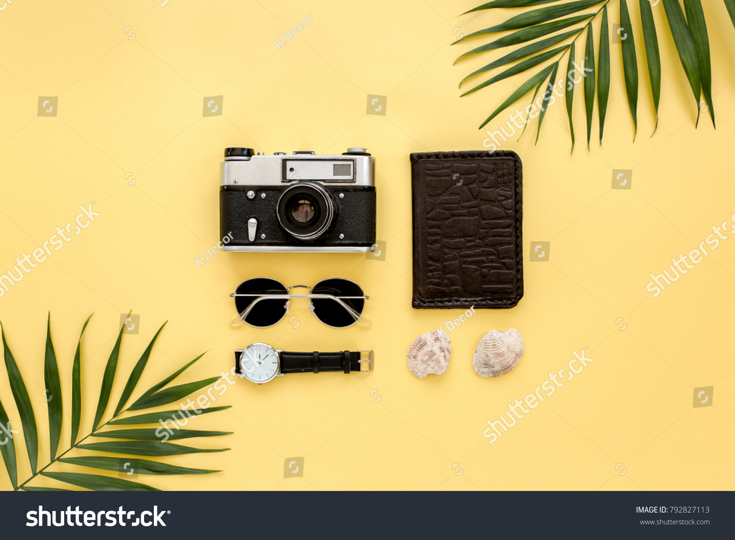 Traveler Accessories On Yellow Background Palm Stock Photo (Royalty ...