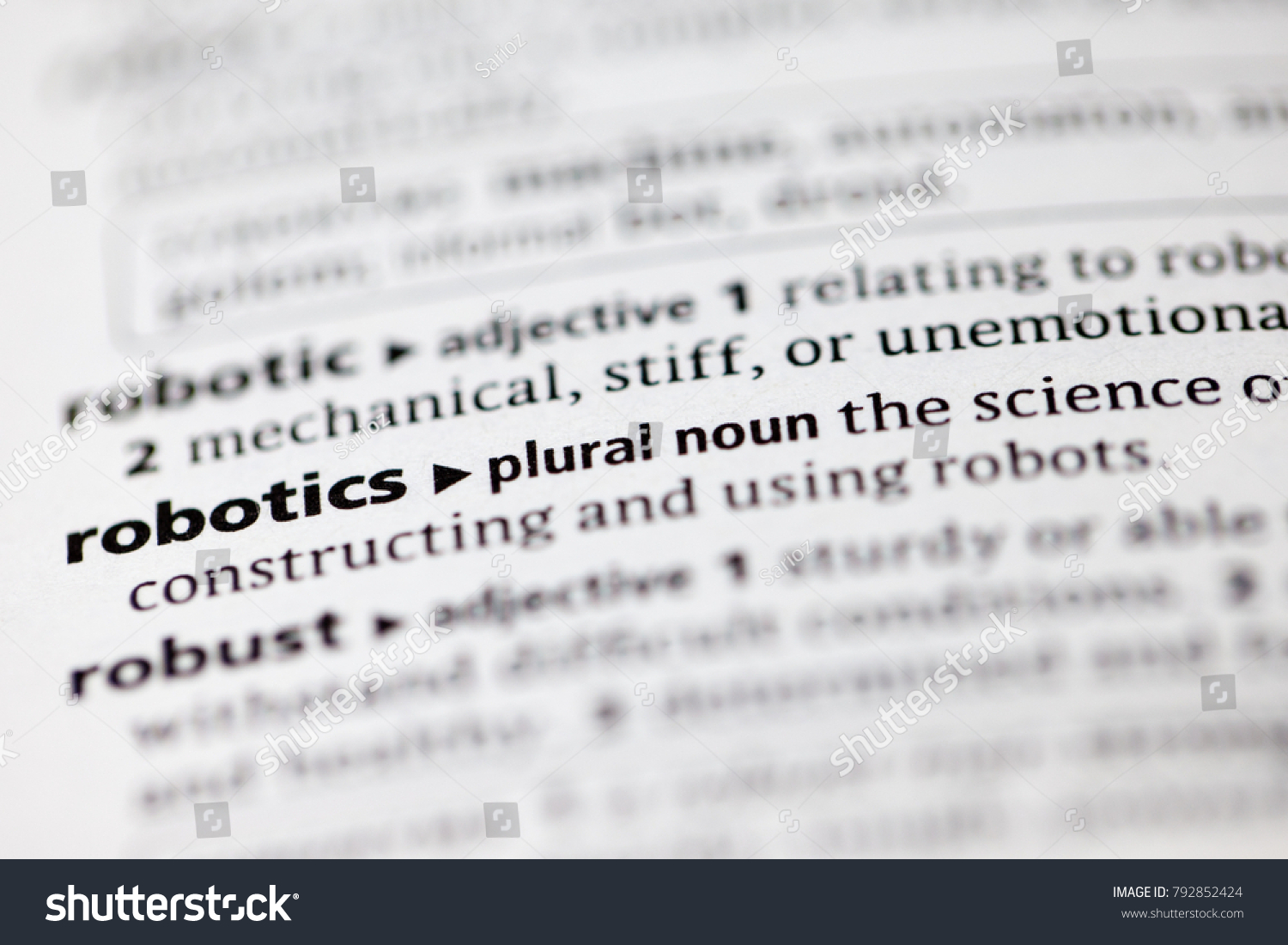 Close Dictionary Definition Robotics Stock Photo Edit Now