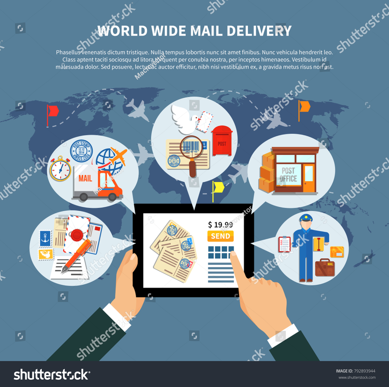Postal services online design clouds icons stock illustration postal services online design with clouds and icons around mobile device and hands world map illustration gumiabroncs Gallery