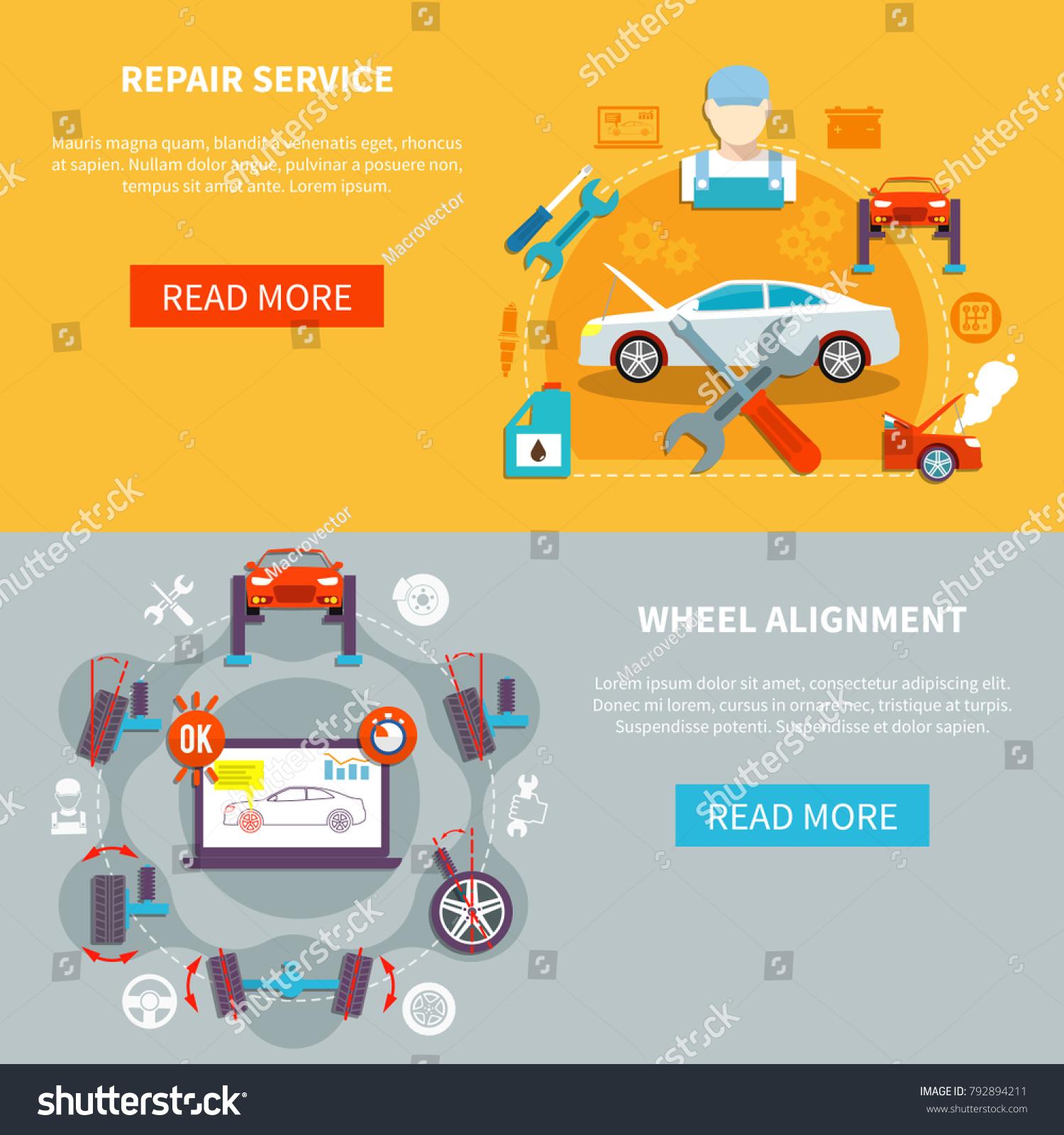 Auto Service Horizontal Banners Repair Service Stock Illustration ...