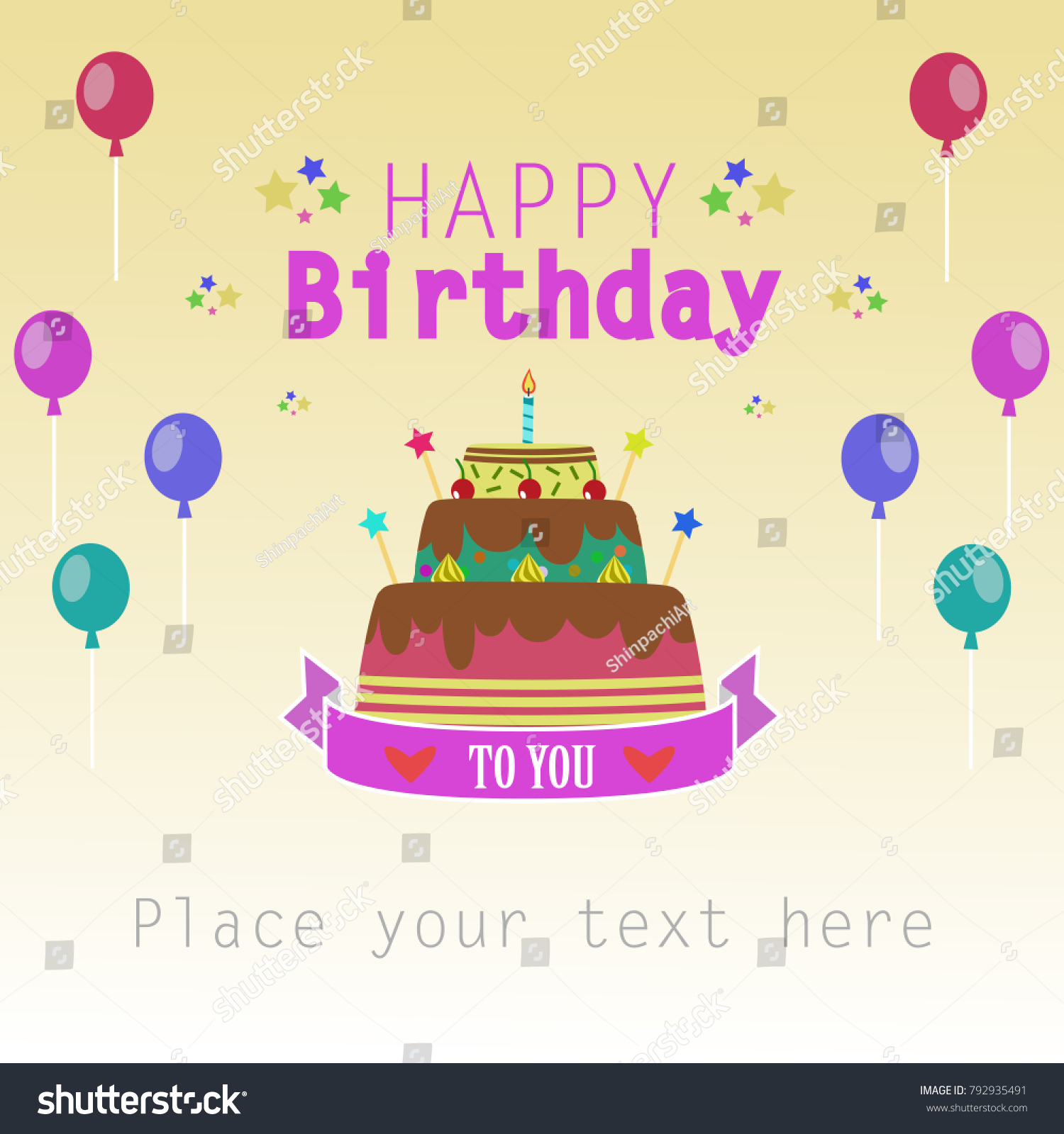 Happy Birthday Cake With Candle And Text For Greeting Card Poster Template