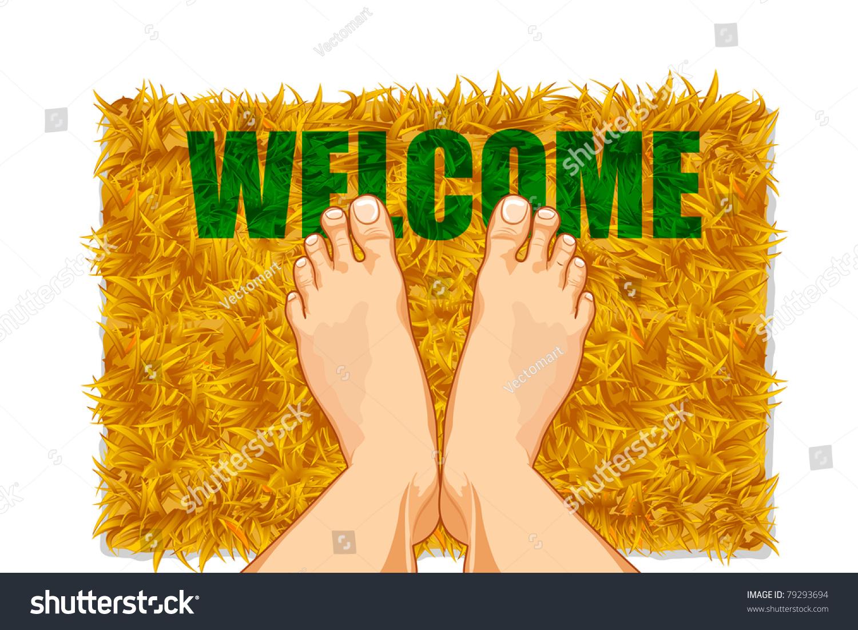 Illustration pair feet on door mat stock vector 79293694 illustration of pair of feet on door mat with welcome on it kristyandbryce Images