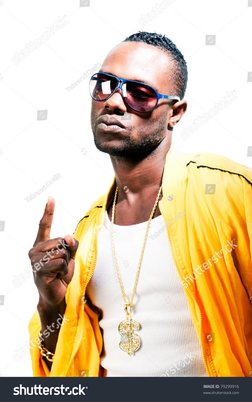 Studio Portrait Cool Black Gangster Rapper Stock Photo (Edit