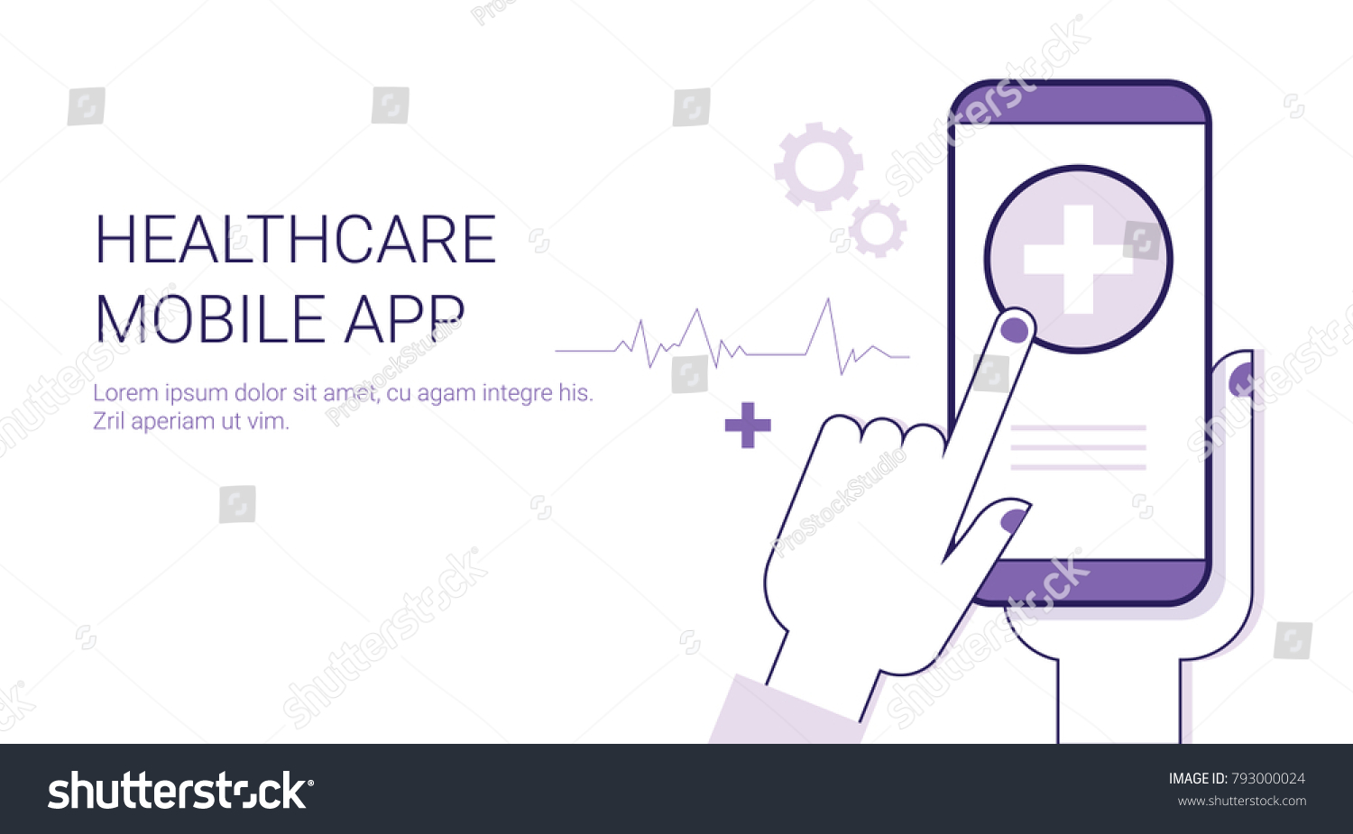 Healthcare Mobile Application Business Concept Template Stock Vector Remote Stethoscope Diagram Web Banner With Copy Space Illustration