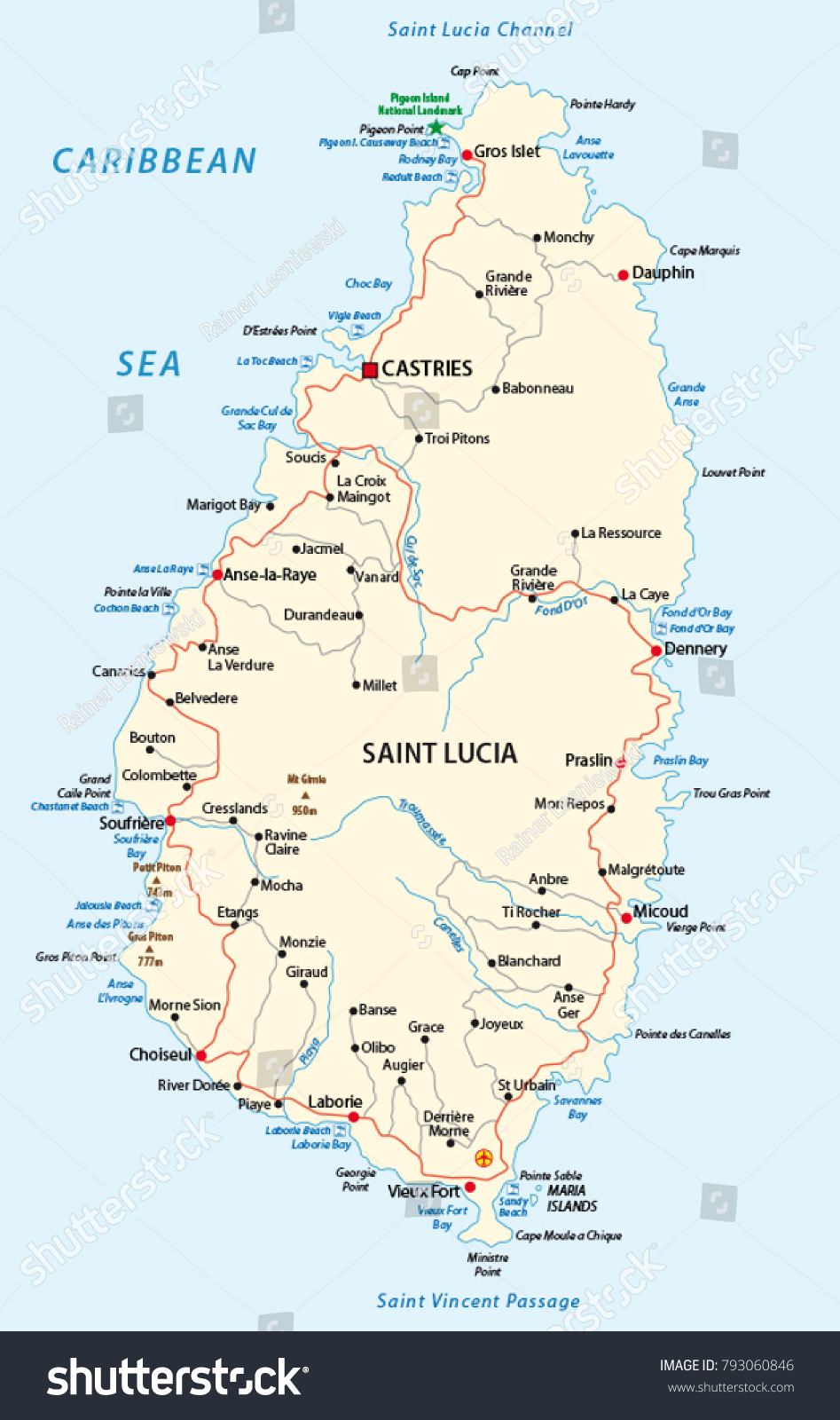 st lucia map beaches Saint Lucia Road Beach Vector Map Stock Vector Royalty Free st lucia map beaches