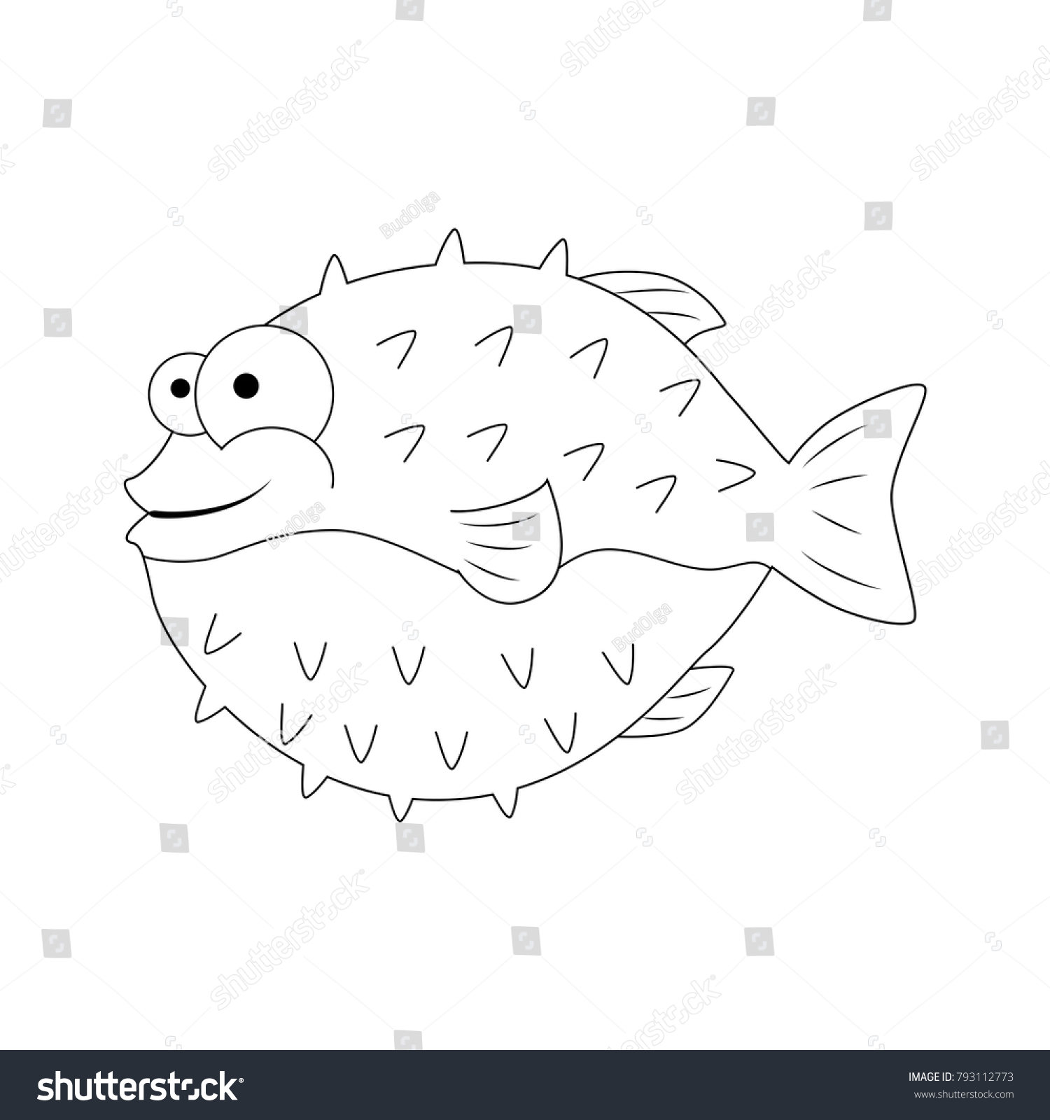 Colorless Funny Cartoon Puffer Fish Vector Stock Vector (Royalty ...