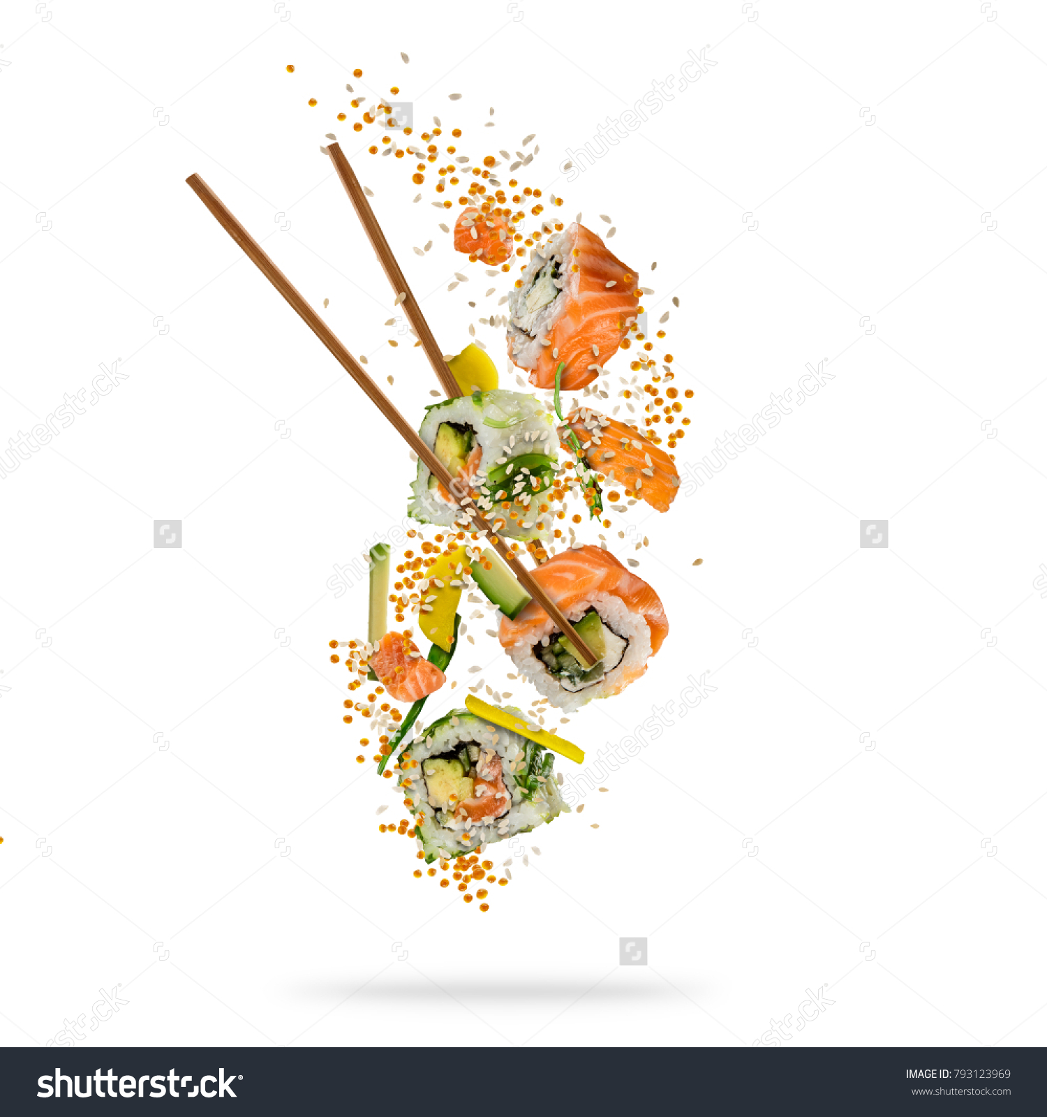 Flying Pieces Sushi Wooden Chopsticks Separated Stock Photo Edit