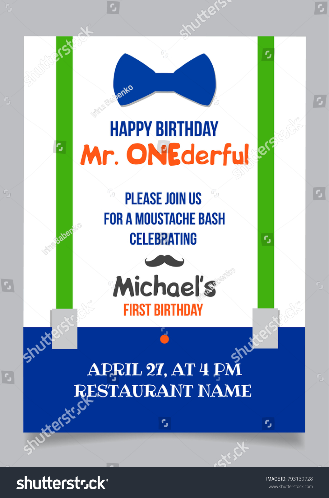 One Year Boy Birthday Invitation Card Stock Vector (Royalty Free ...