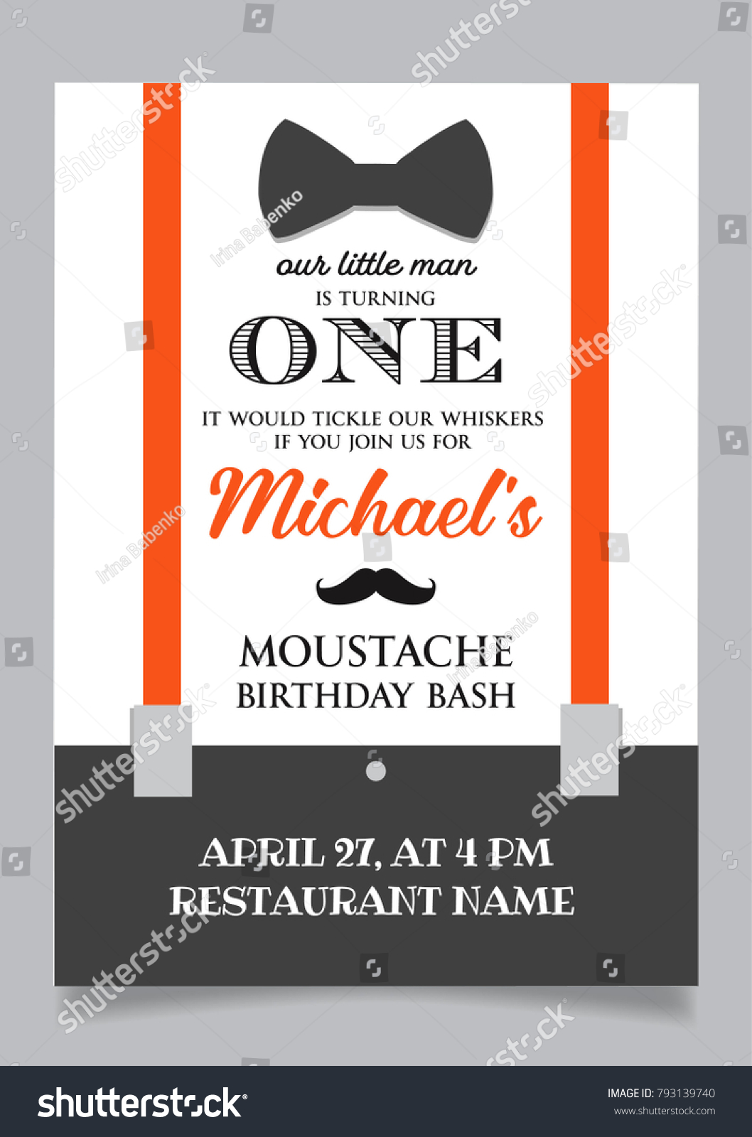 Little Man One Year Birthday Invitation Stock Vector (Royalty Free ...