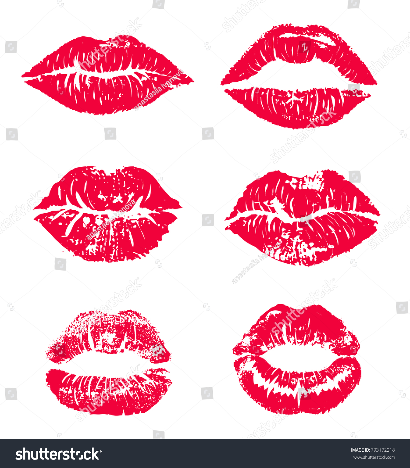 Lipstick kiss print isolated vector set. red vector lips set. Different shapes of female sexy red lips. Sexy lips makeup, kiss mouth. Female mouth. Print of lips kiss vector background.