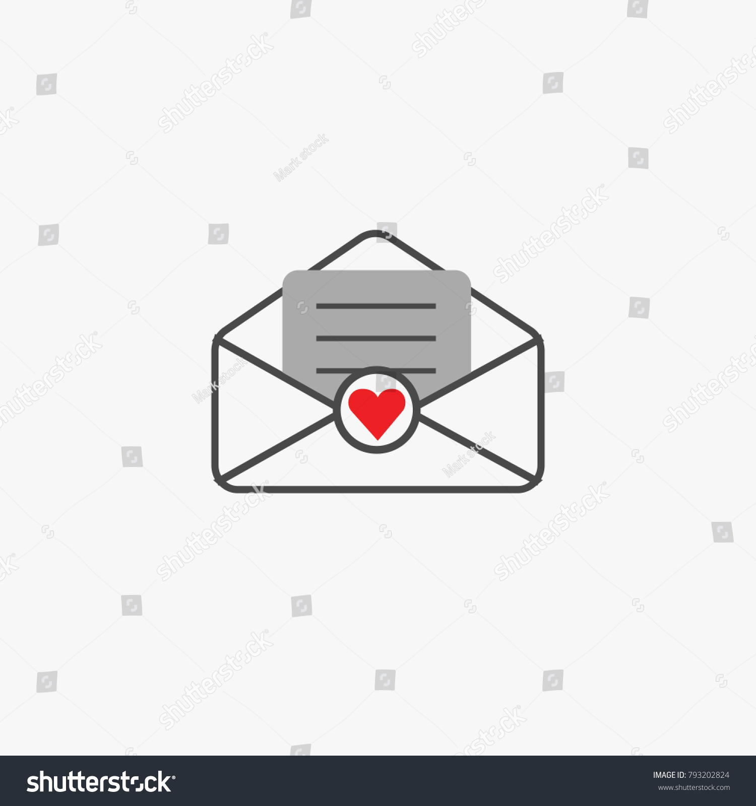 Love letter envelope open heart symbol stock vector 793202824 love letter envelope open with heart symbol vector icon for messages email sms social media websites buycottarizona Gallery