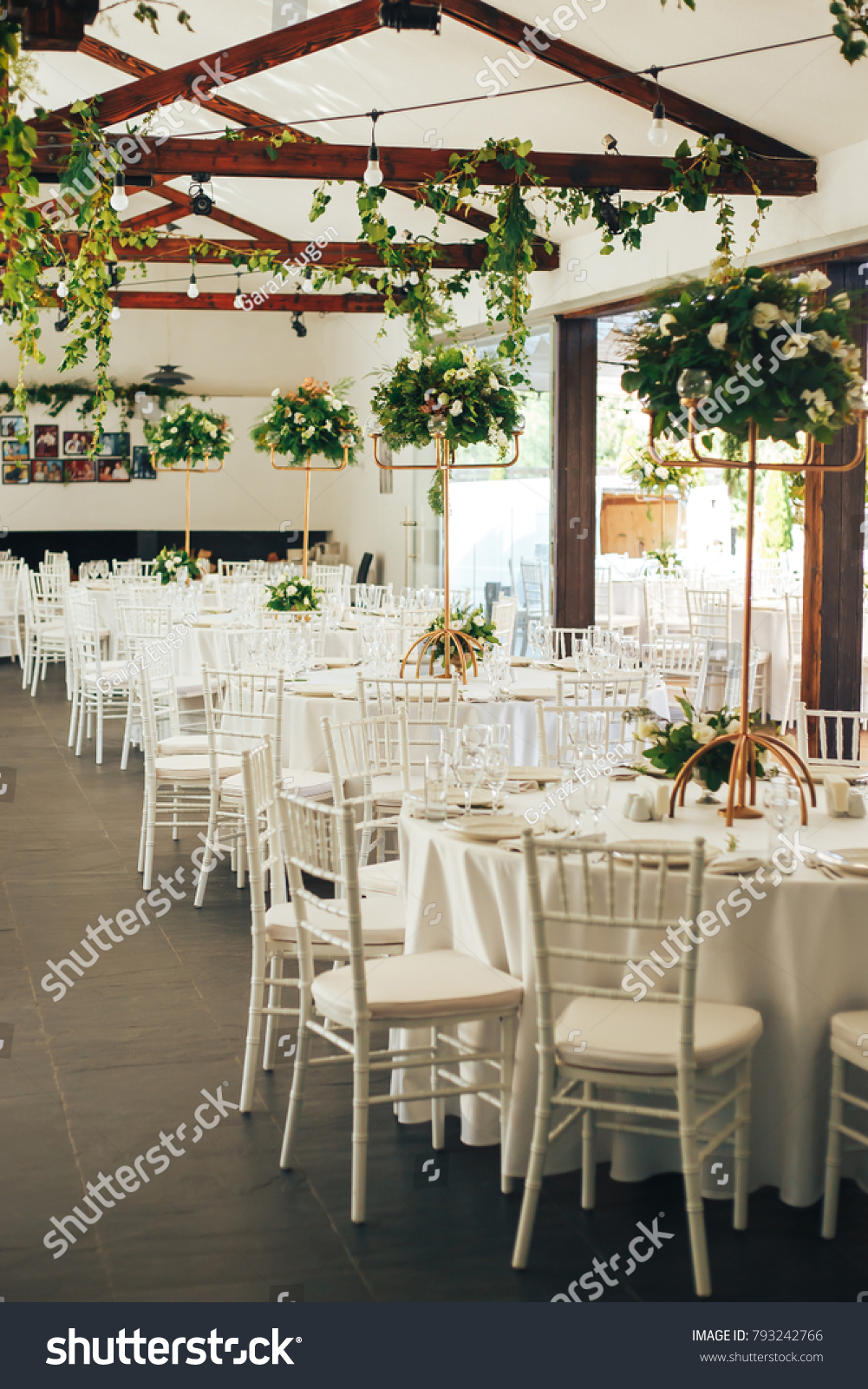 Greenery Wedding Decoration Cooper Centerpieces Stock Photo ...