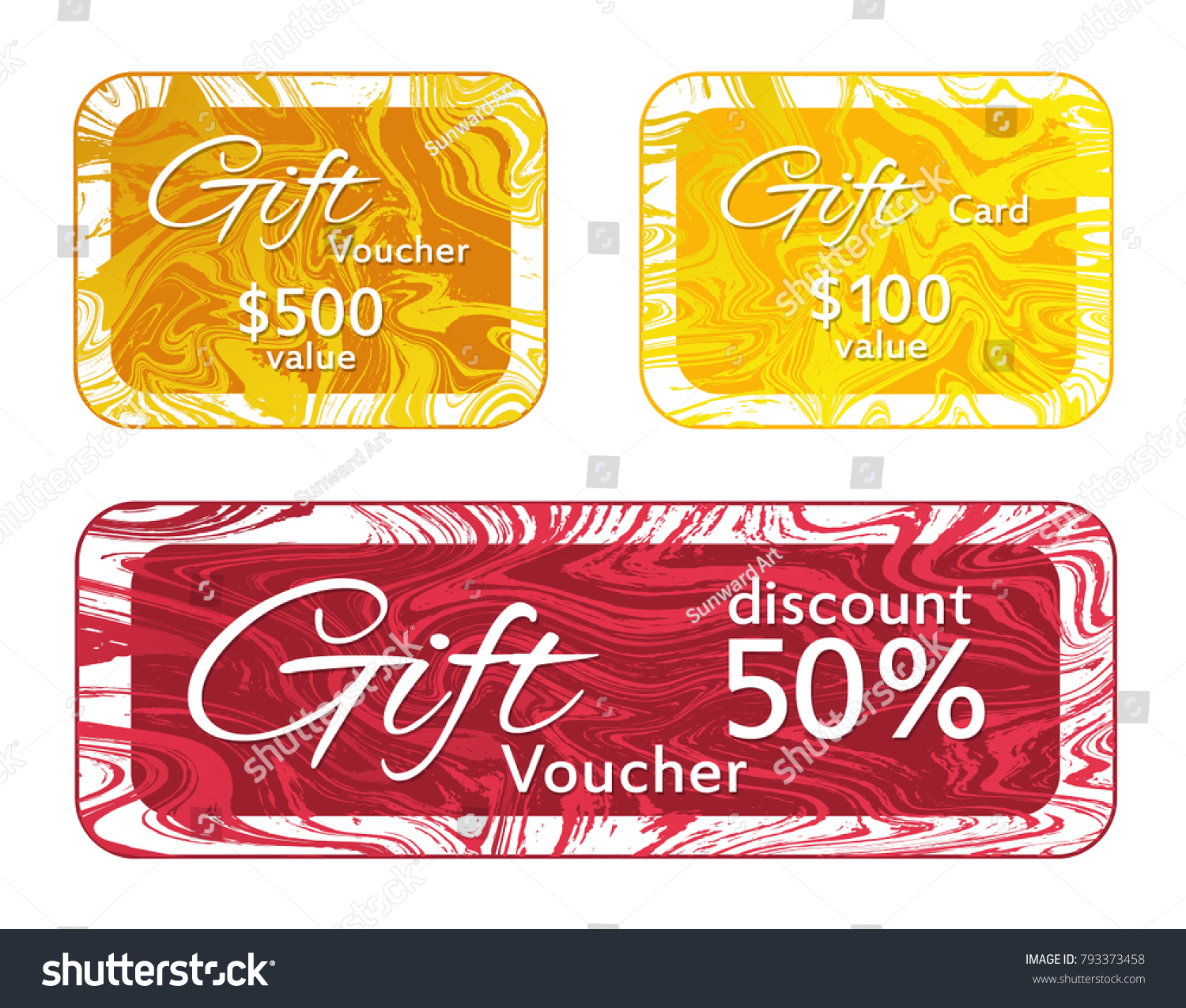 Gift Voucher Card Templates Vector Set Stock Photo (Photo, Vector ...