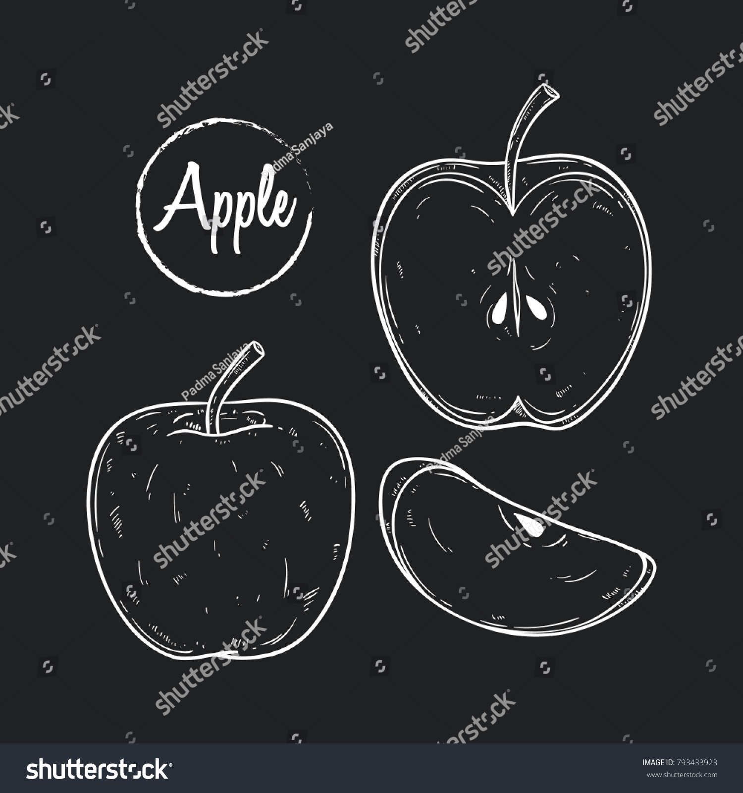 Set Hand Drawn Apple Two Type Stock Vector Royalty Free 793433923
