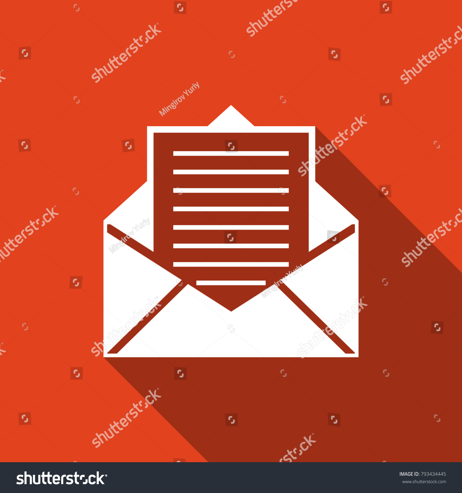 Mail Email Icon Isolated Long Shadow Stock Illustration 793434445