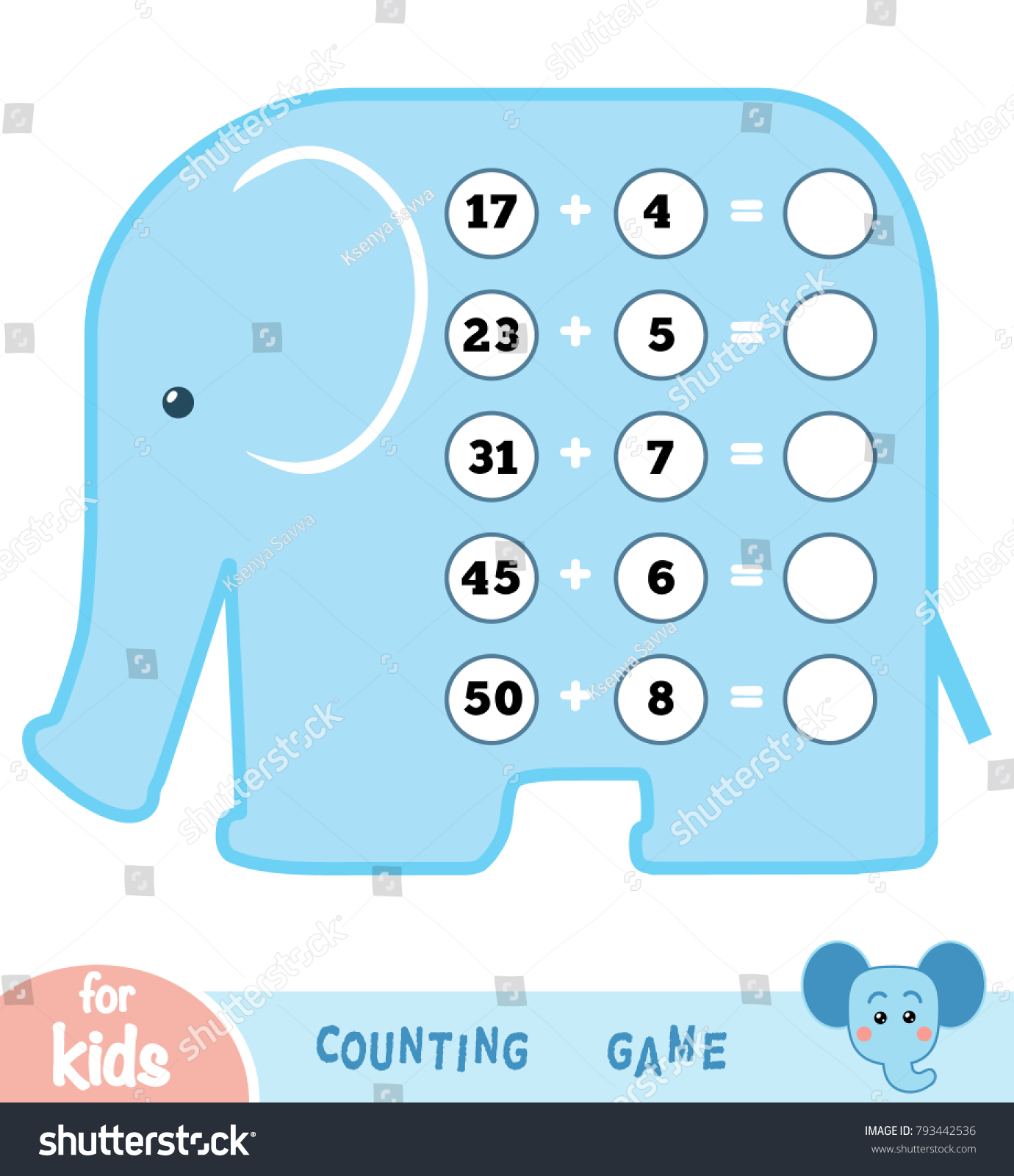 Counting Game Preschool Children Educational Mathematical Stock ...