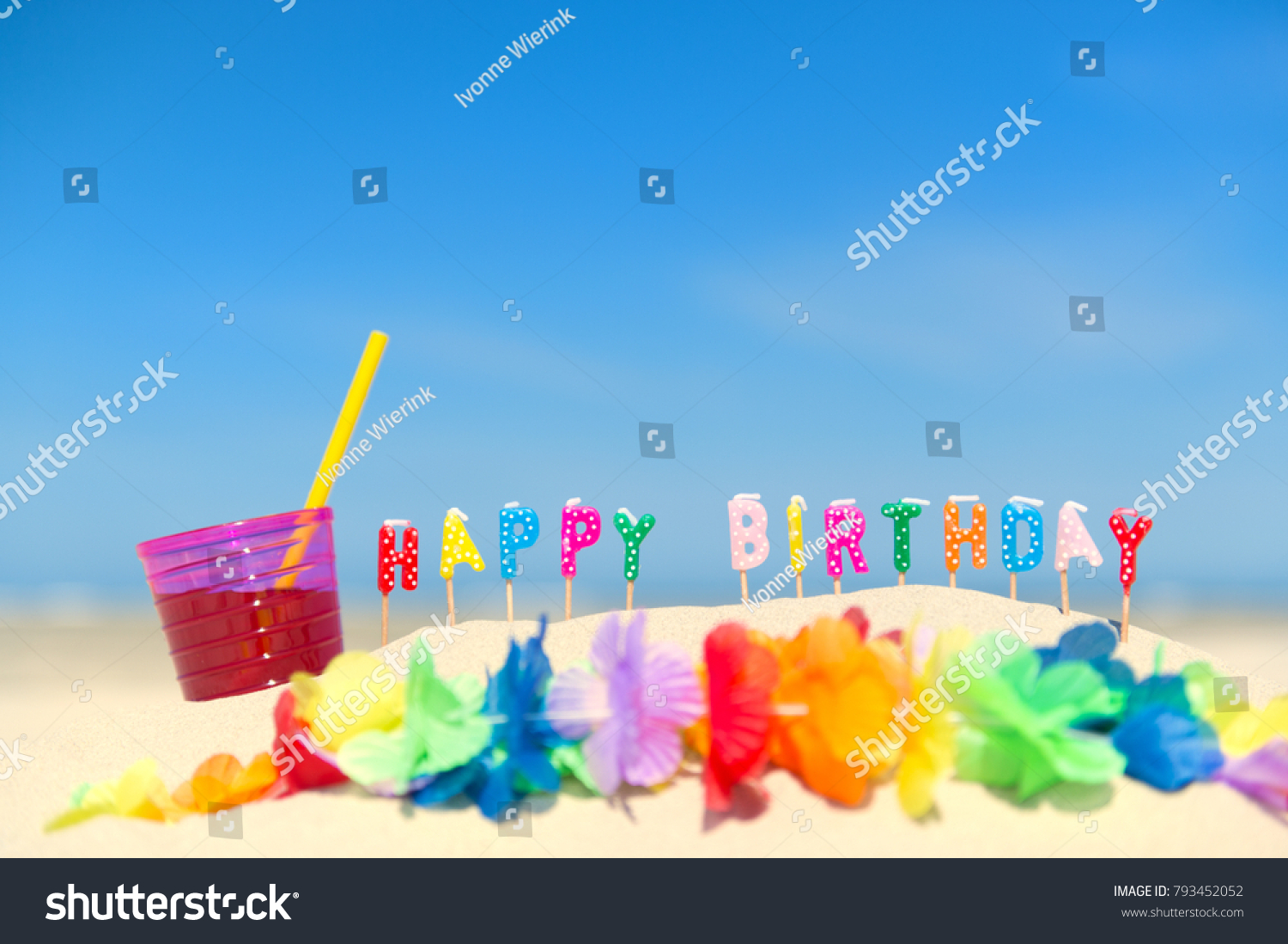 Happy Birthday Candles Flower Garland Beach Stock Photo Edit Now